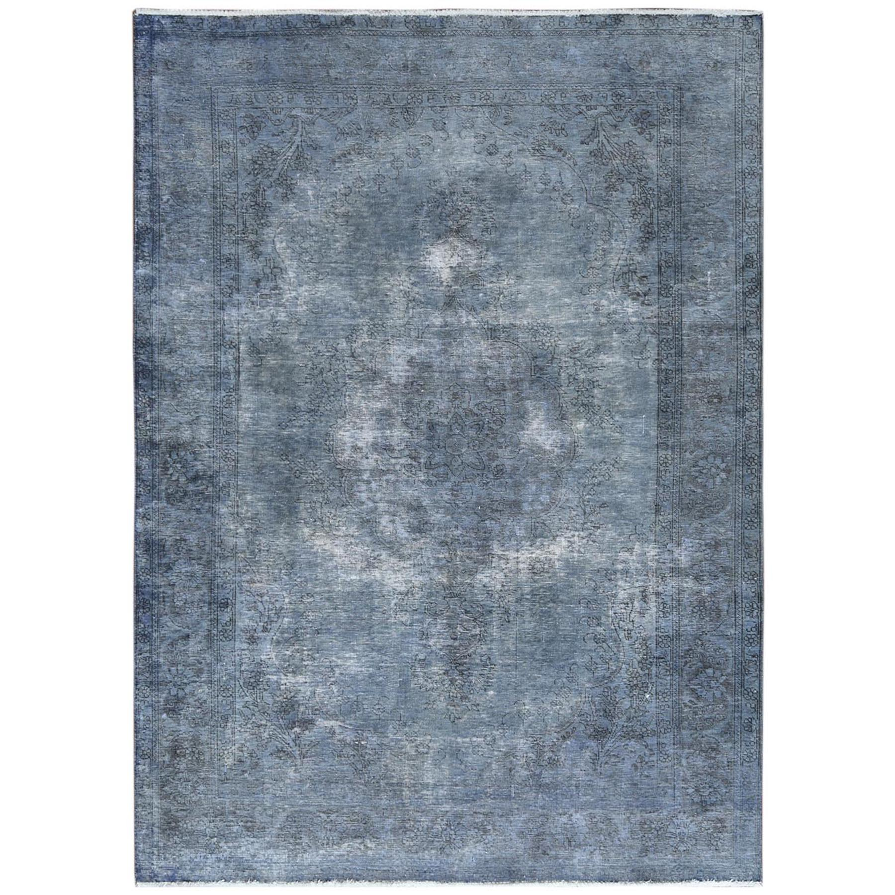 Fetneh Collection And Vintage Overdyed Collection Hand Knotted Blue Rug No: 1122470