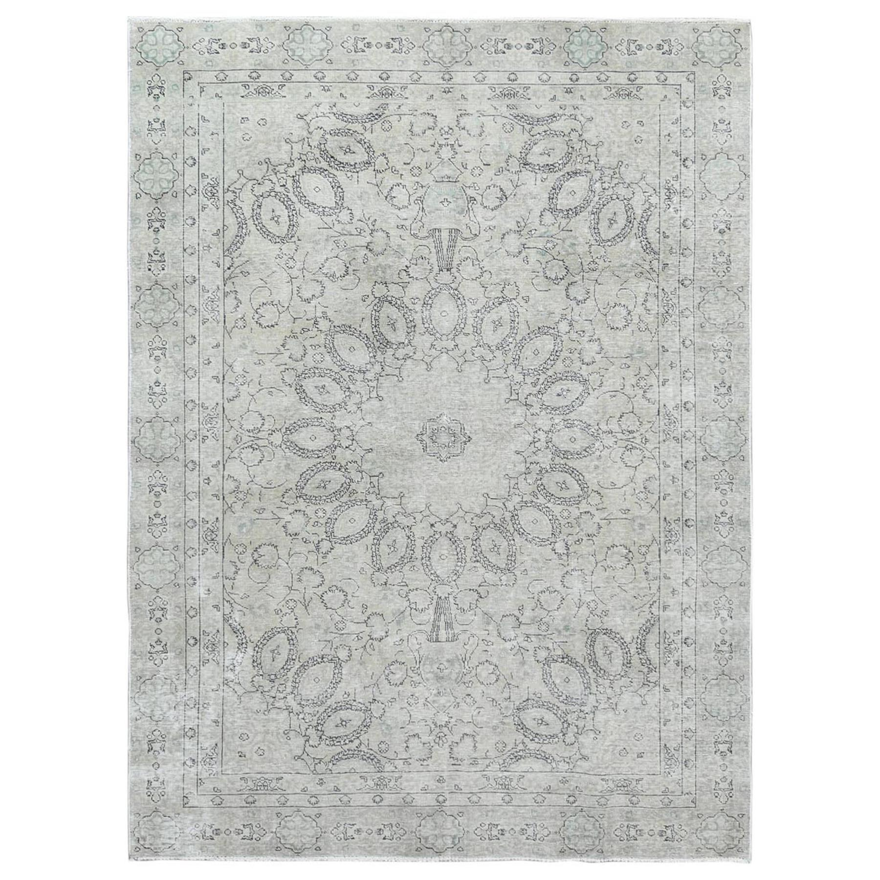 Fetneh Collection And Vintage Overdyed Collection Hand Knotted Ivory Rug No: 1122472