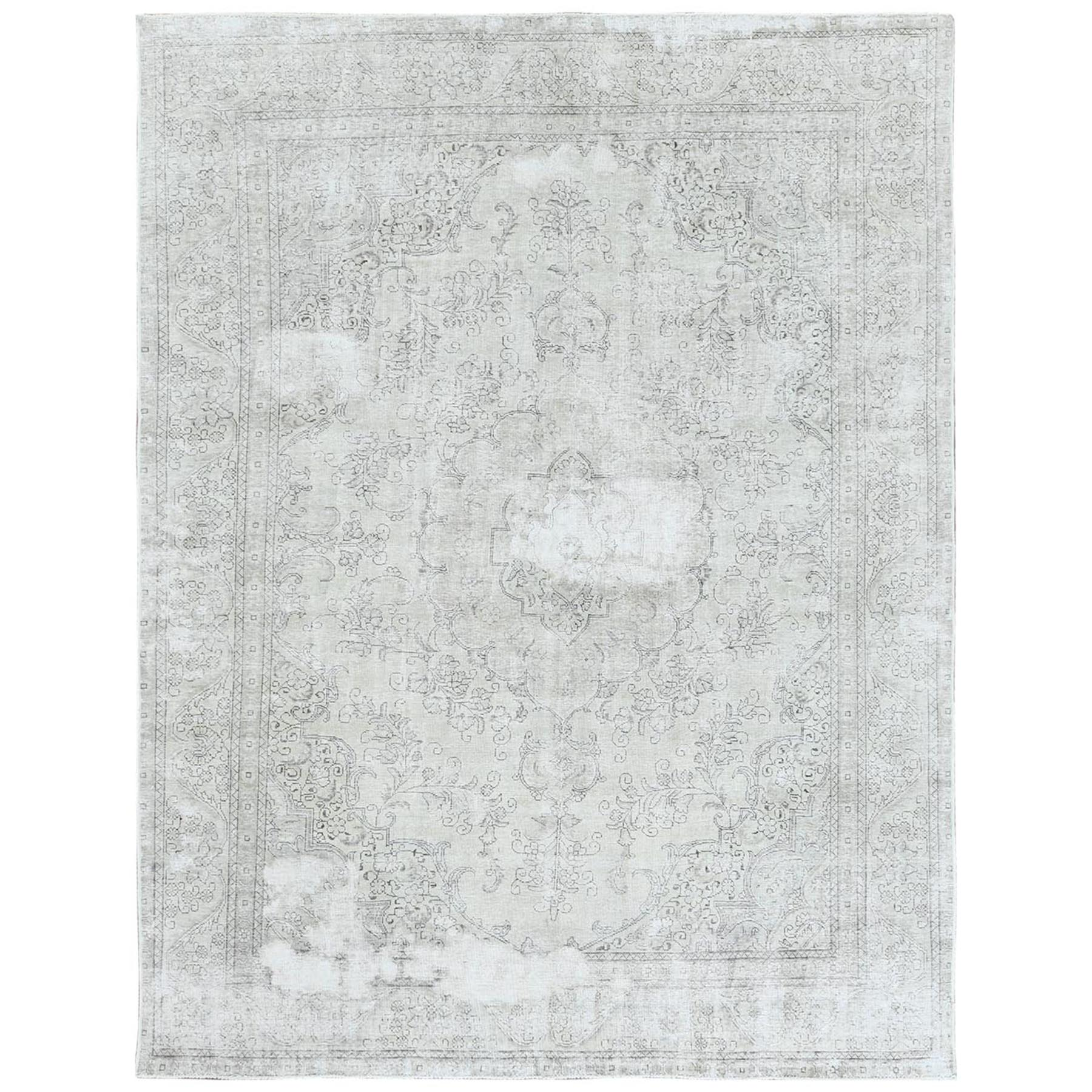 Fetneh Collection And Vintage Overdyed Collection Hand Knotted Grey Rug No: 1122490
