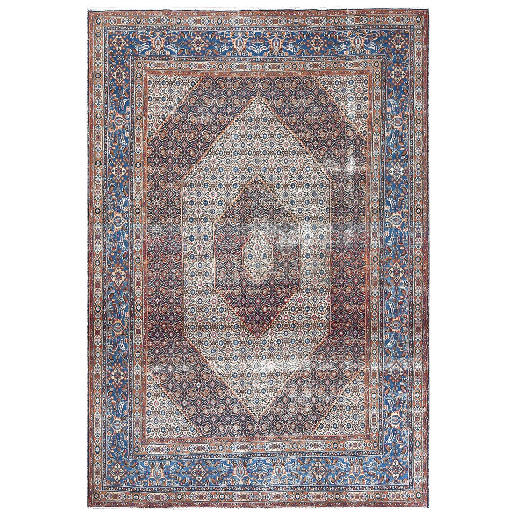 Fetneh Collection And Vintage Overdyed Collection Hand Knotted Ivory Rug No: 1122494