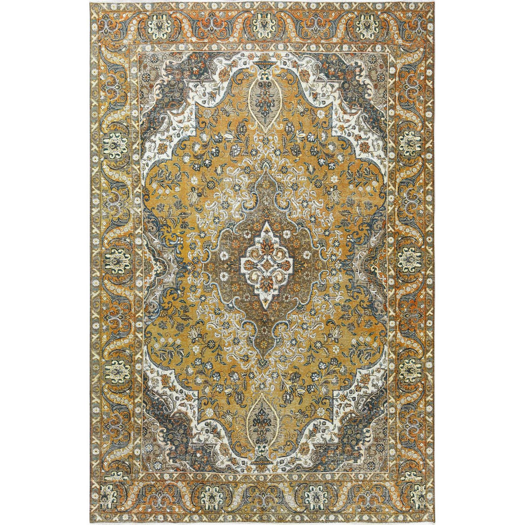 Fetneh Collection And Vintage Overdyed Collection Hand Knotted Yellow Rug No: 1122614