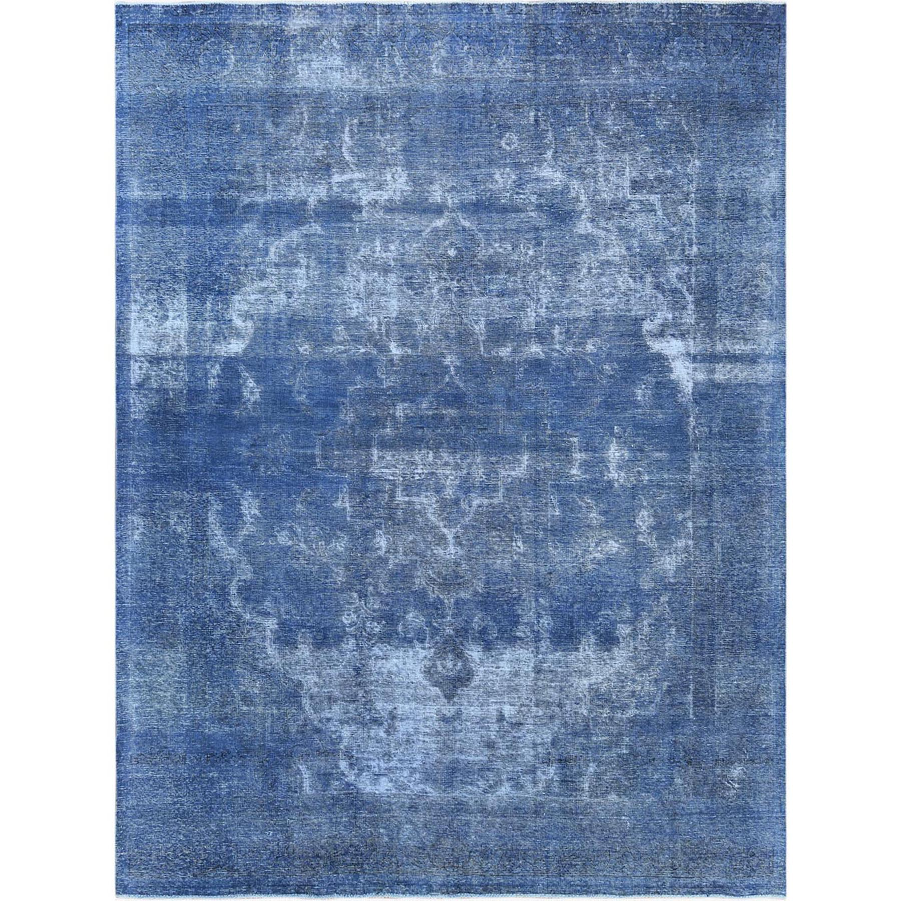 Fetneh Collection And Vintage Overdyed Collection Hand Knotted Blue Rug No: 1122618