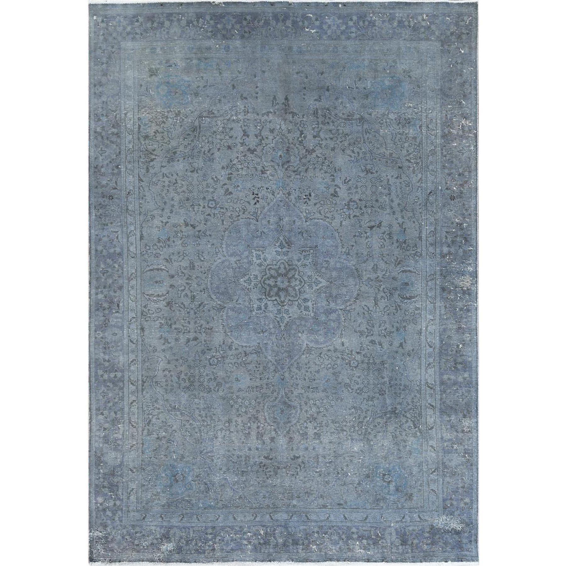 Fetneh Collection And Vintage Overdyed Collection Hand Knotted Grey Rug No: 1122620
