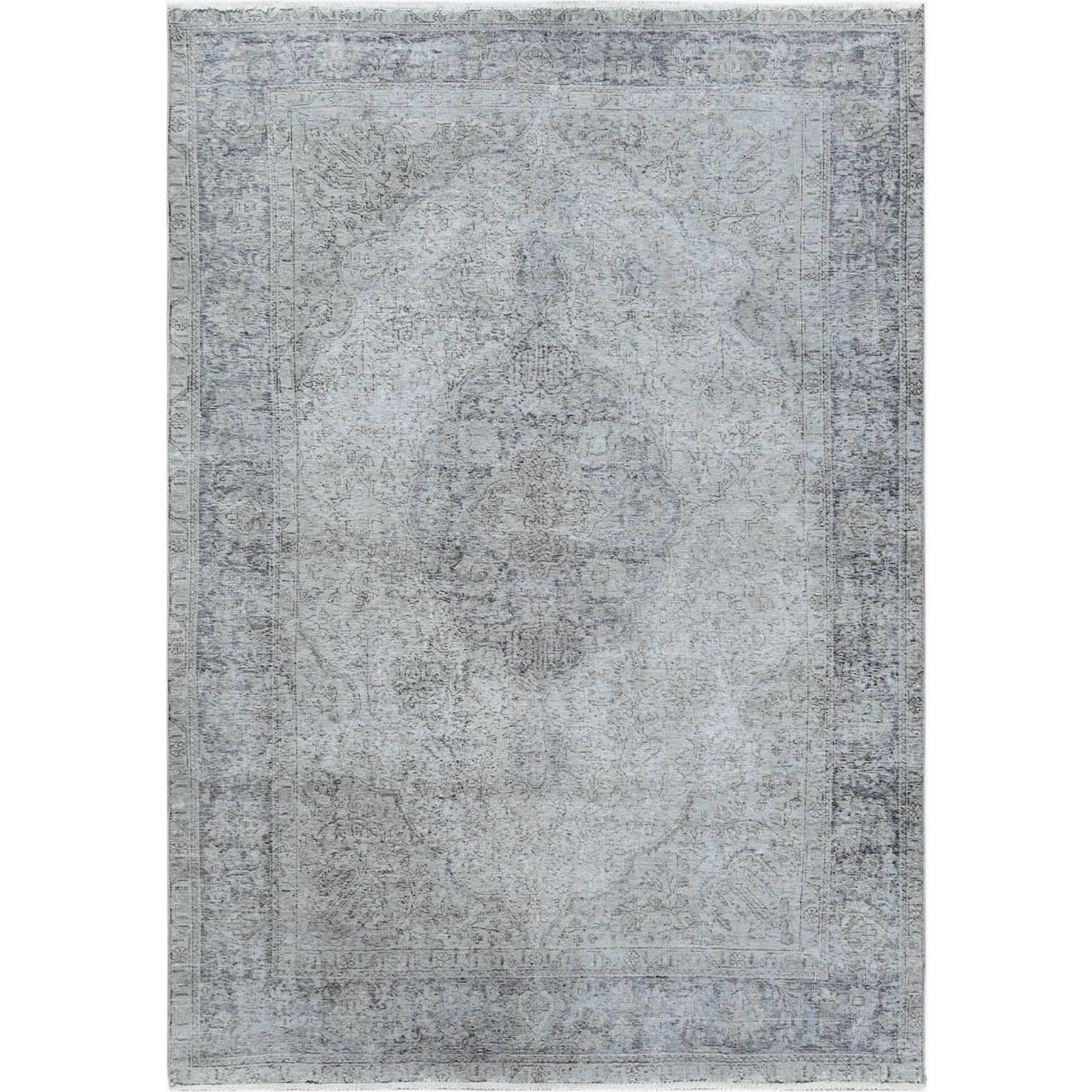 Fetneh Collection And Vintage Overdyed Collection Hand Knotted Grey Rug No: 1122622
