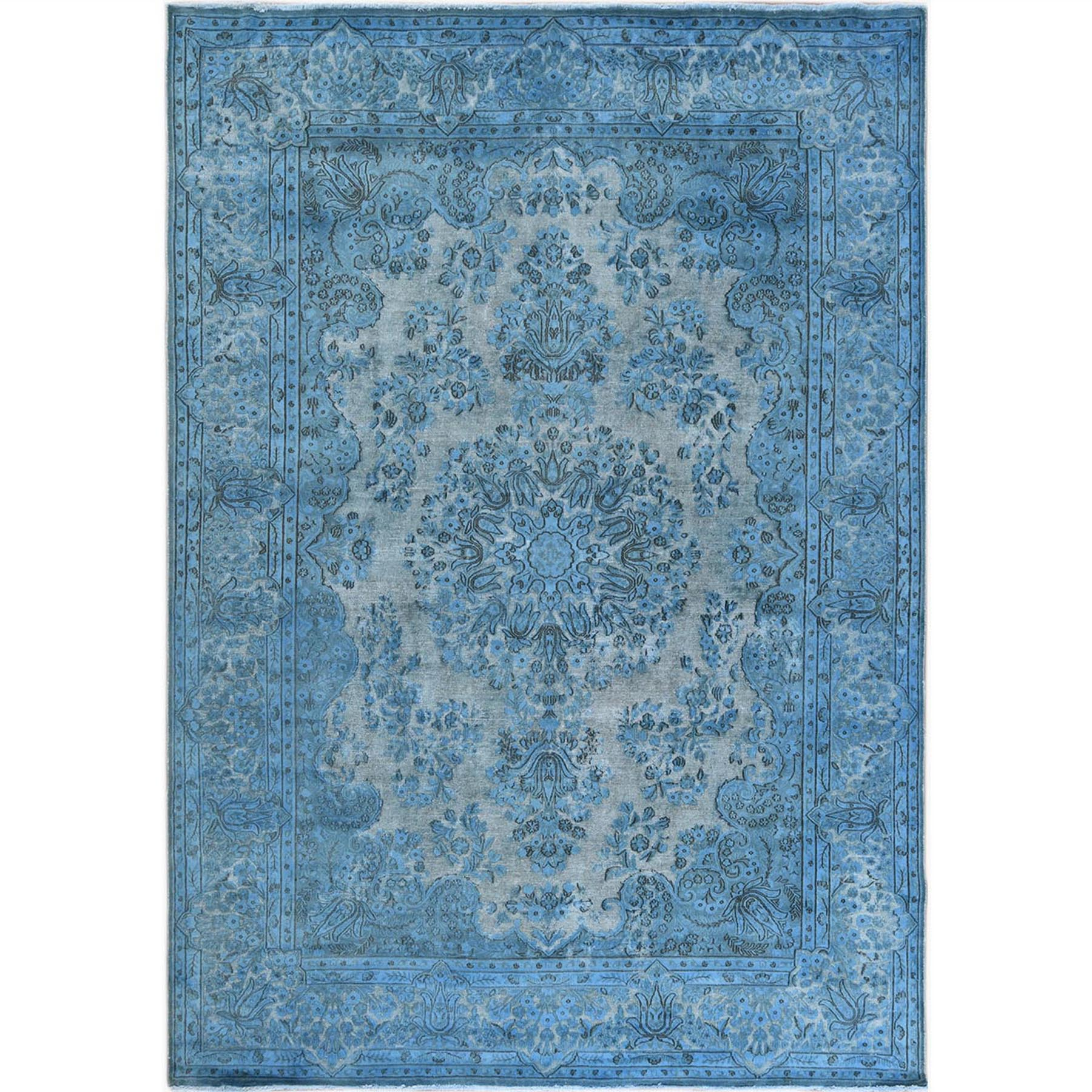 Fetneh Collection And Vintage Overdyed Collection Hand Knotted Blue Rug No: 1122658