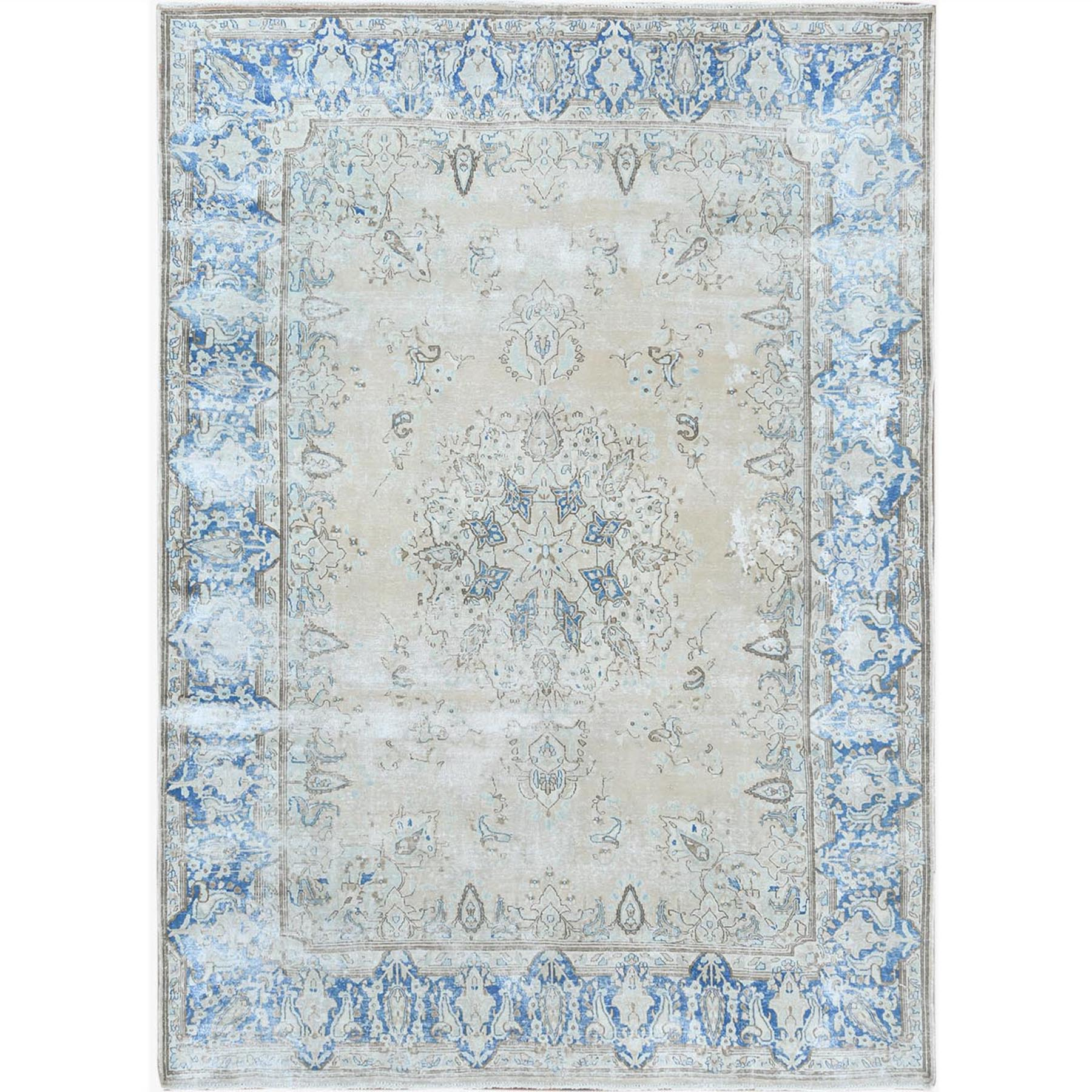 Fetneh Collection And Vintage Overdyed Collection Hand Knotted Beige Rug No: 1122672