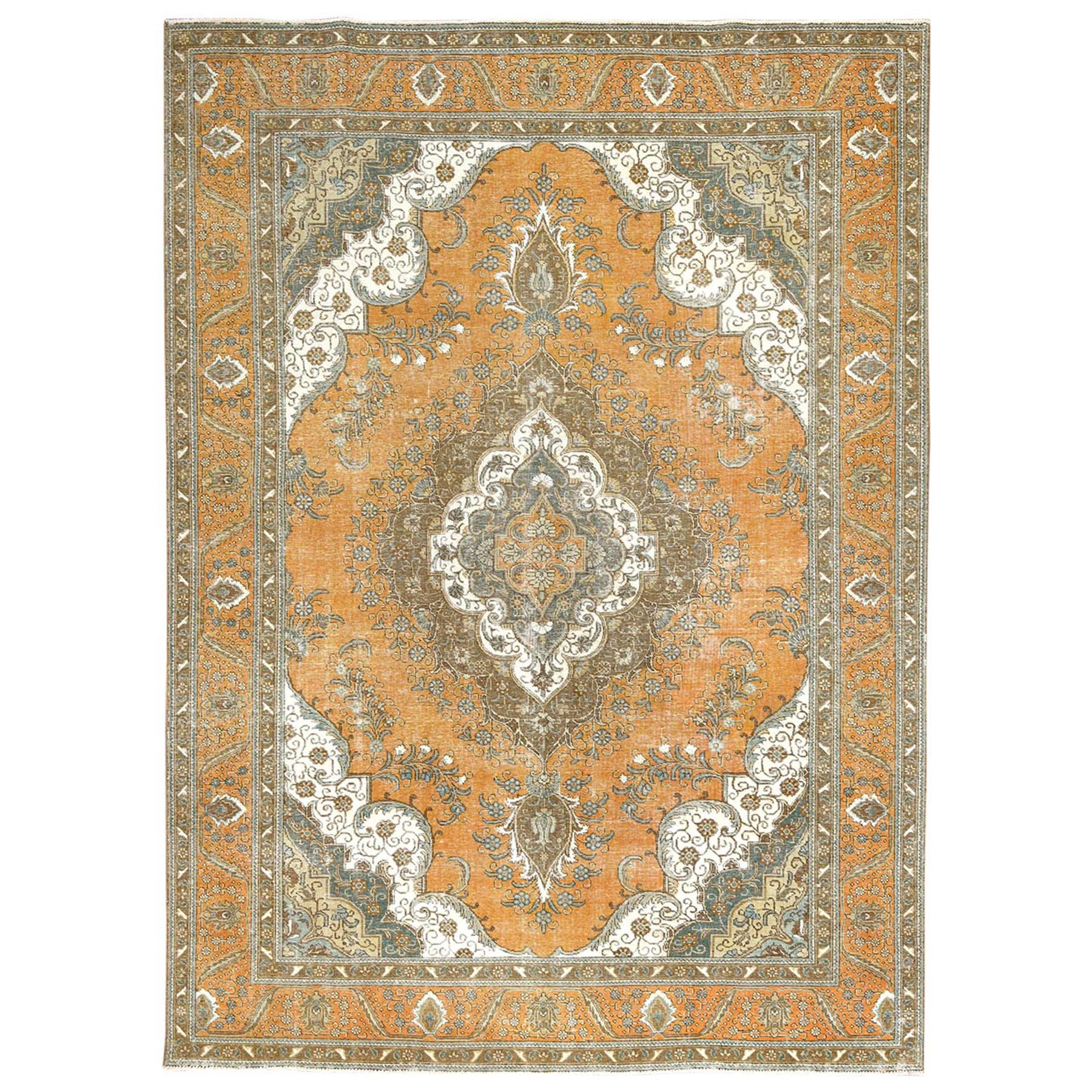 Fetneh Collection And Vintage Overdyed Collection Hand Knotted Orange Rug No: 1122772