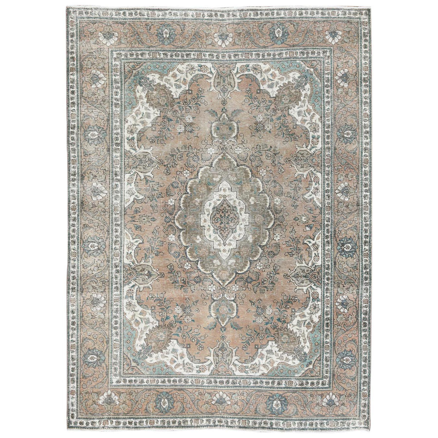 Fetneh Collection And Vintage Overdyed Collection Hand Knotted Brown Rug No: 1122778