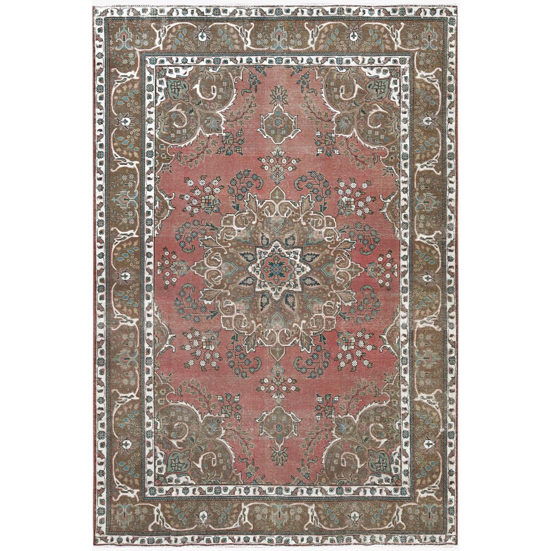 Fetneh Collection And Vintage Overdyed Collection Hand Knotted Pink Rug No: 1122788
