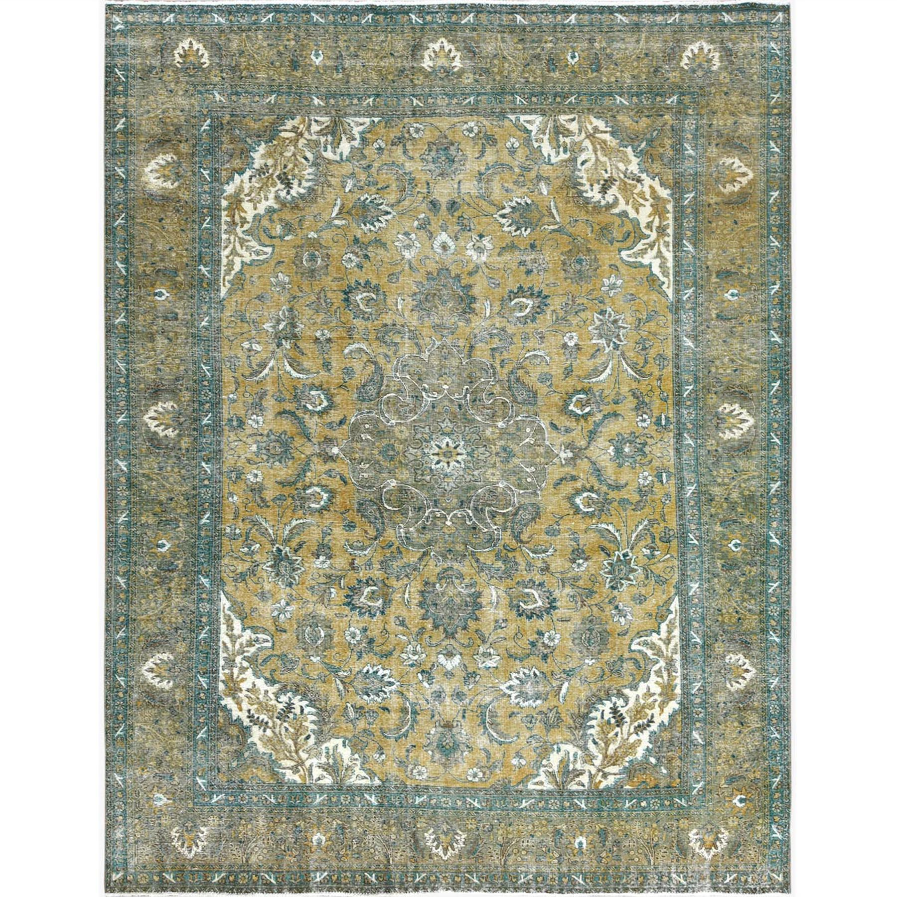 Fetneh Collection And Vintage Overdyed Collection Hand Knotted Yellow Rug No: 1122802