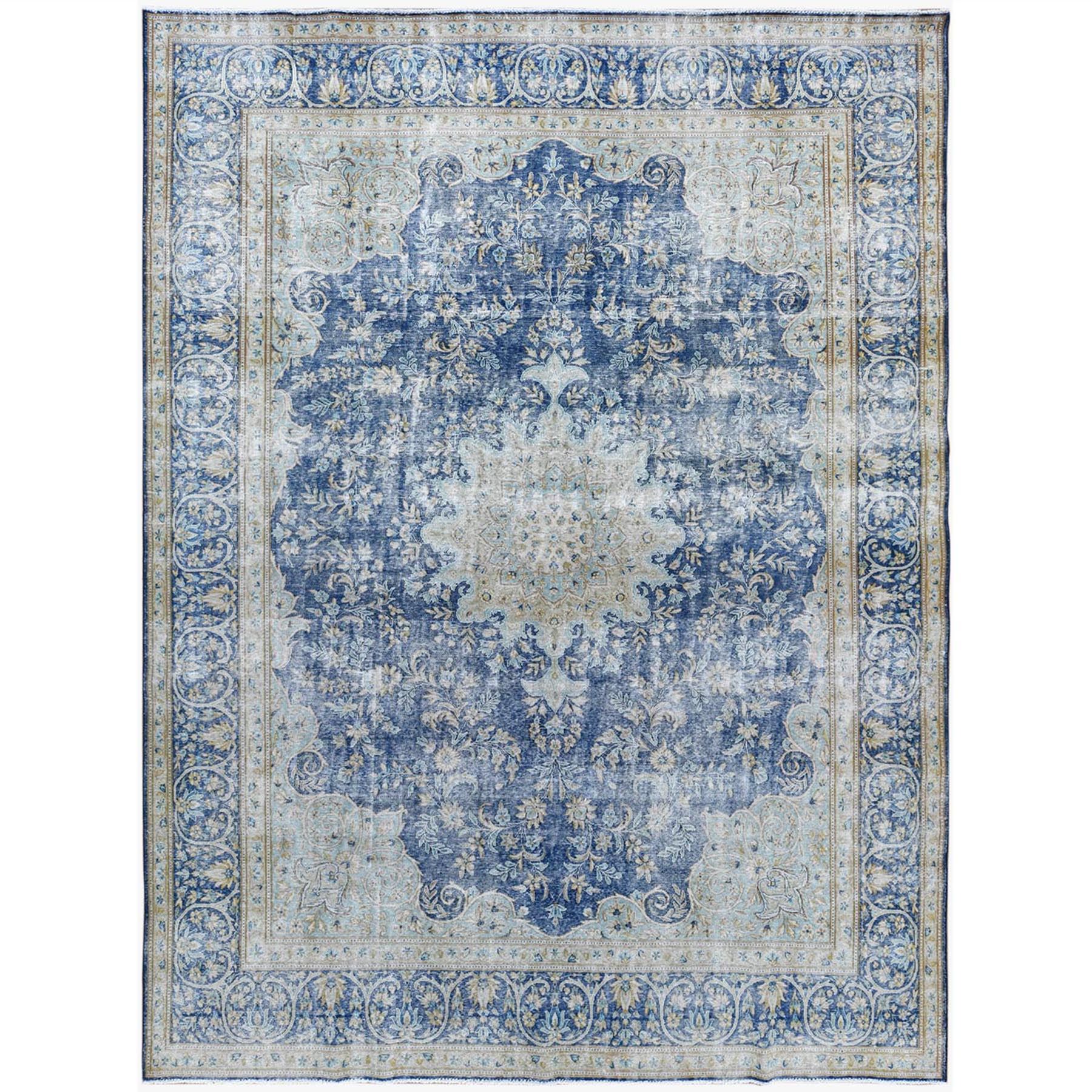 Fetneh Collection And Vintage Overdyed Collection Hand Knotted Blue Rug No: 1122822