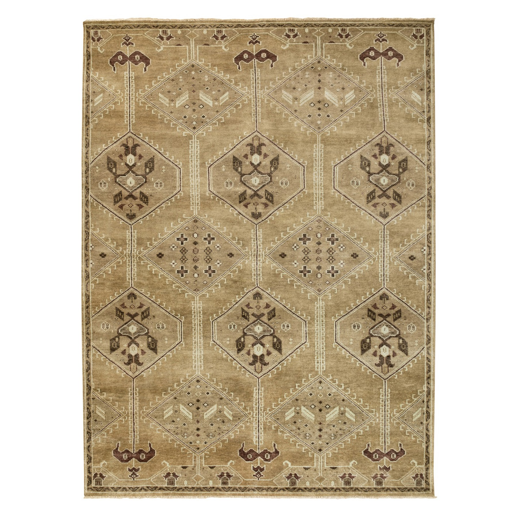 "8'8""x12' Brown Supple Collection Oushak Design Pure Wool Hand Knotted Oriental Rug"