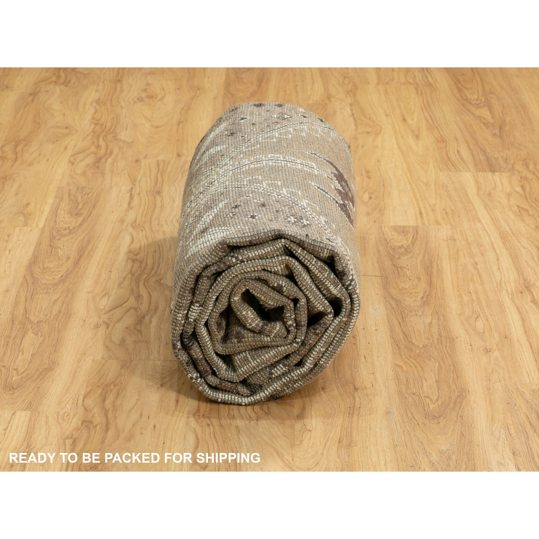 """8'8""""x12' Brown Supple Collection Oushak Design Pure Wool Hand Knotted Oriental Rug"""