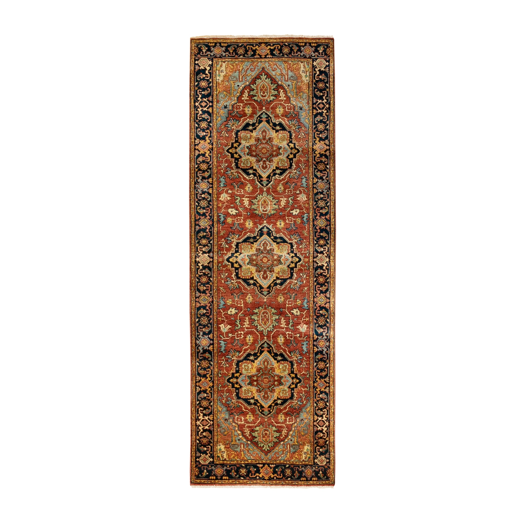 "2'6""x8'1"" Red Antiqued Heriz Re-Creation Soft And Supple Wool Hand Knotted Oriental Rug"