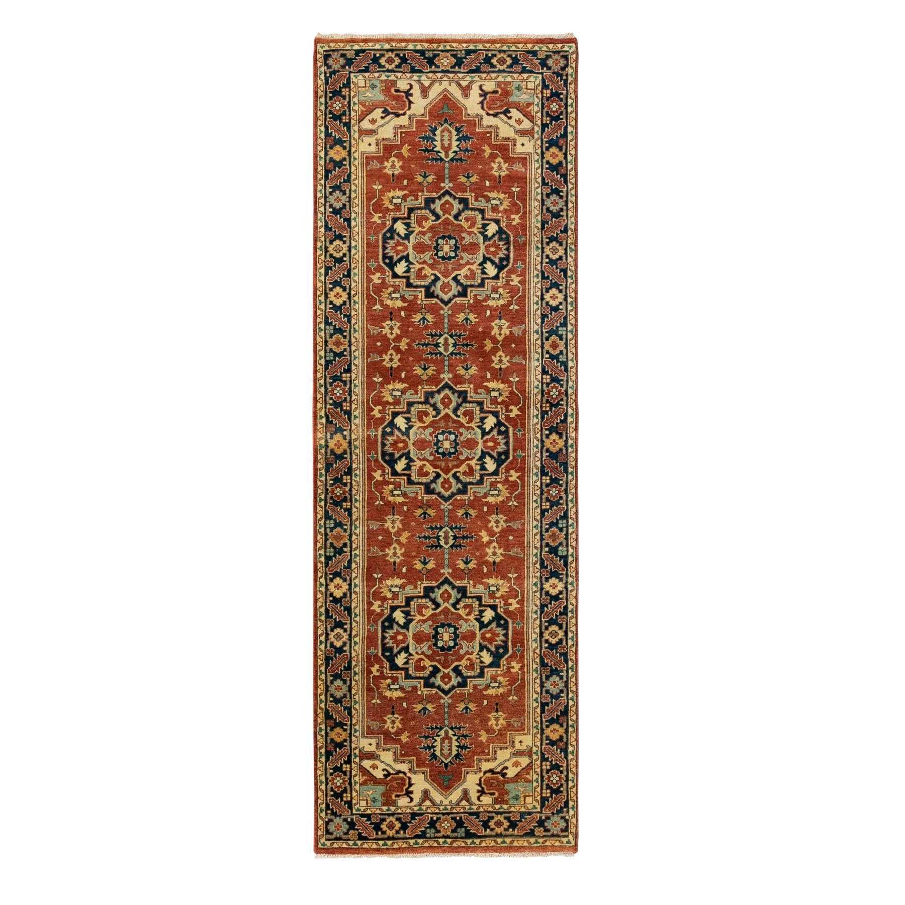"2'8""x8'2"" Hand Knotted Red Antiqued Heriz Re-Creation Velvety Wool Oriental Runner Rug"