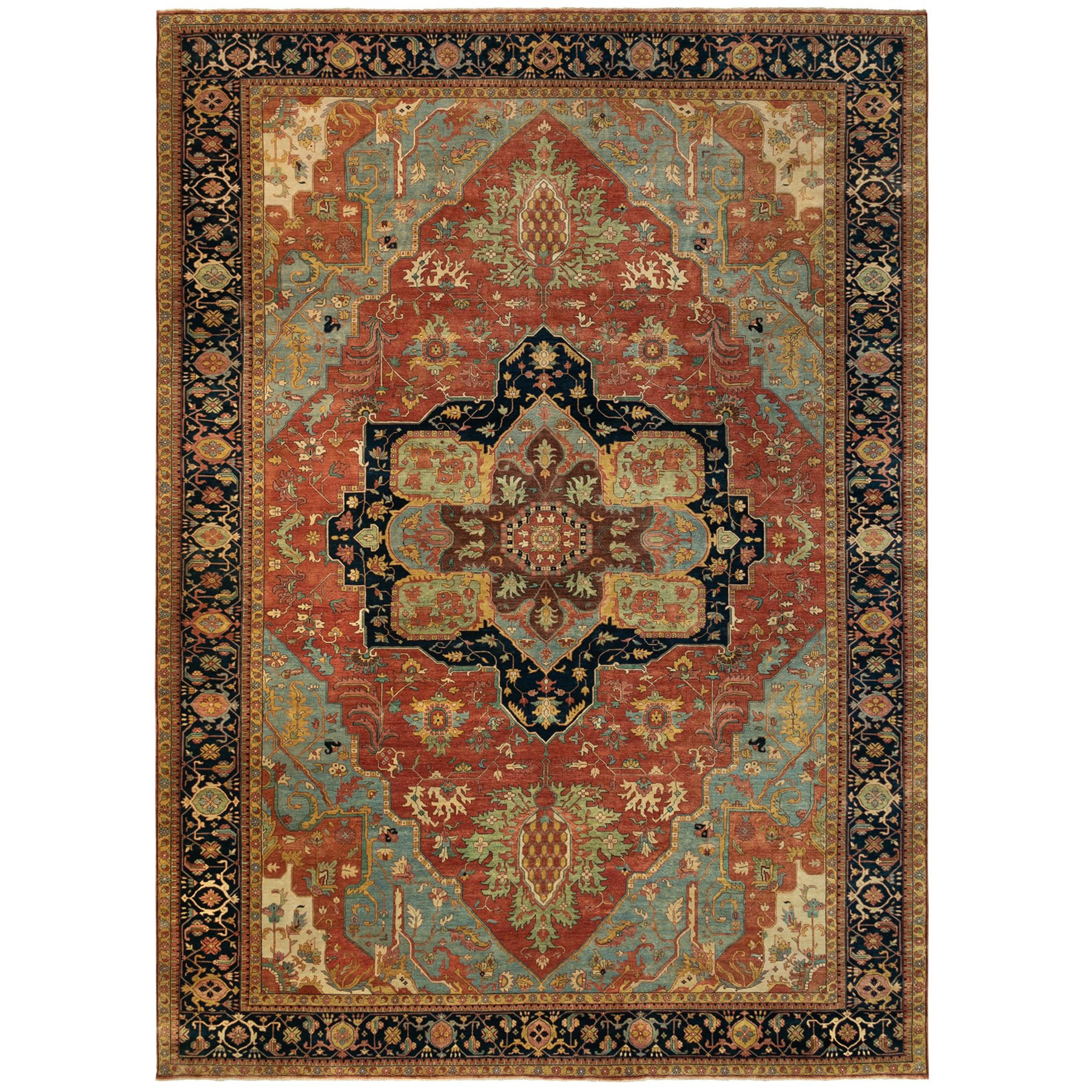 """11'10""""x18'3"""" Red Antiqued Heriz Re-Creation Velvety Wool Hand Knotted Oriental Gallery Size Rug"""