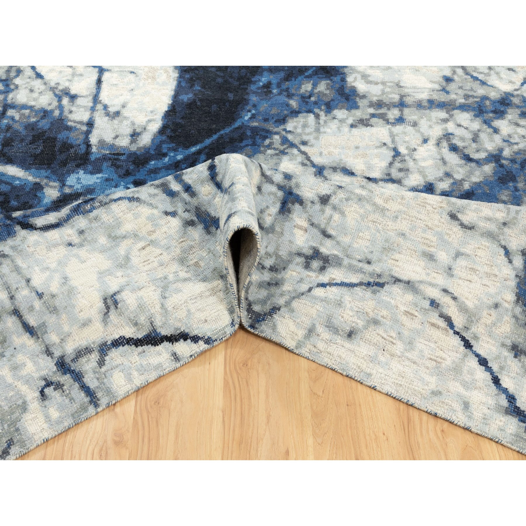 """9'1""""x12' Denim Blue 100% Textured Wool with Areas of Distressed Pile Modern Design Hand Knotted Oriental Rug"""