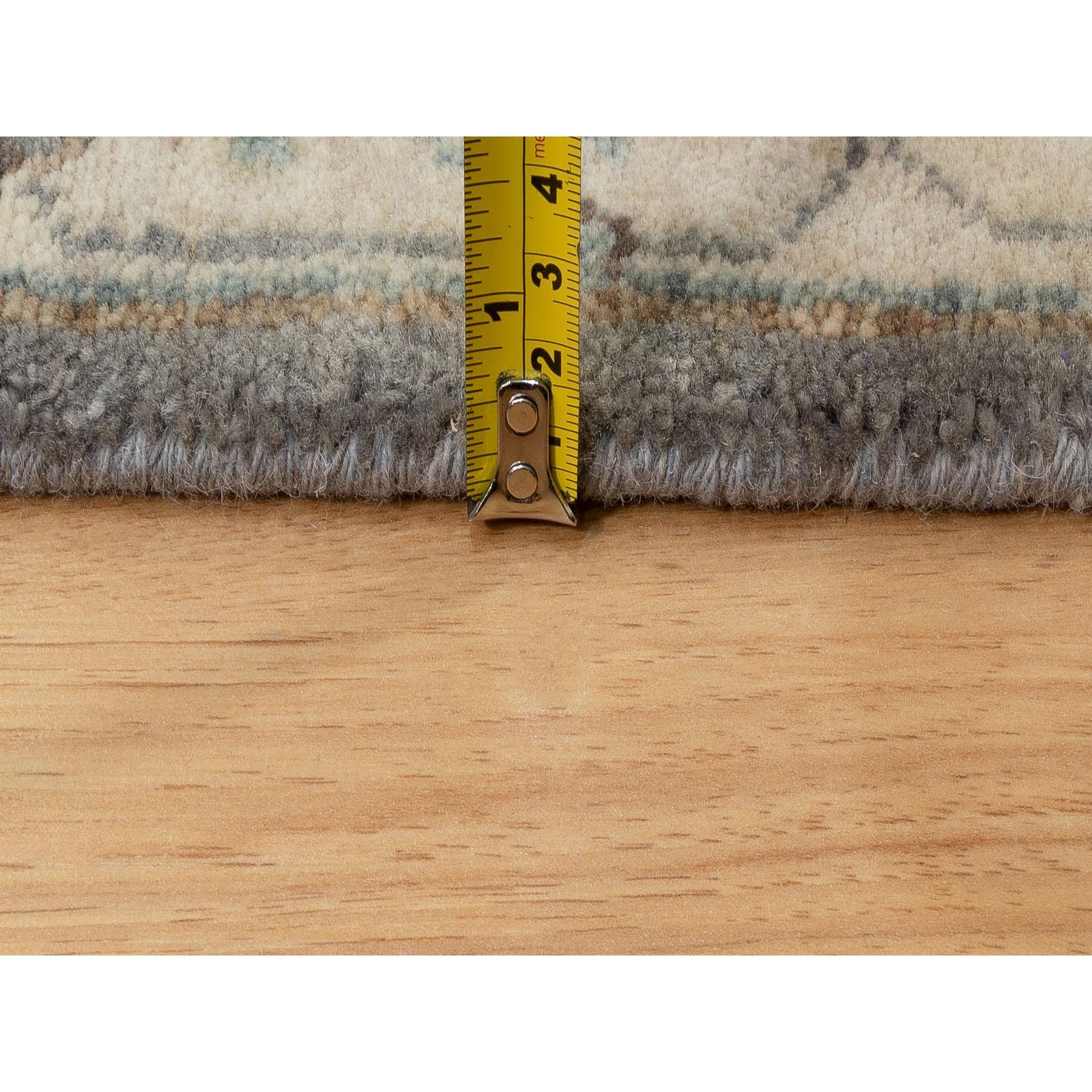 "2'6""x7'9"" Gray Karajeh Design Pure Wool Hand Knotted Oriental Runner Rug"