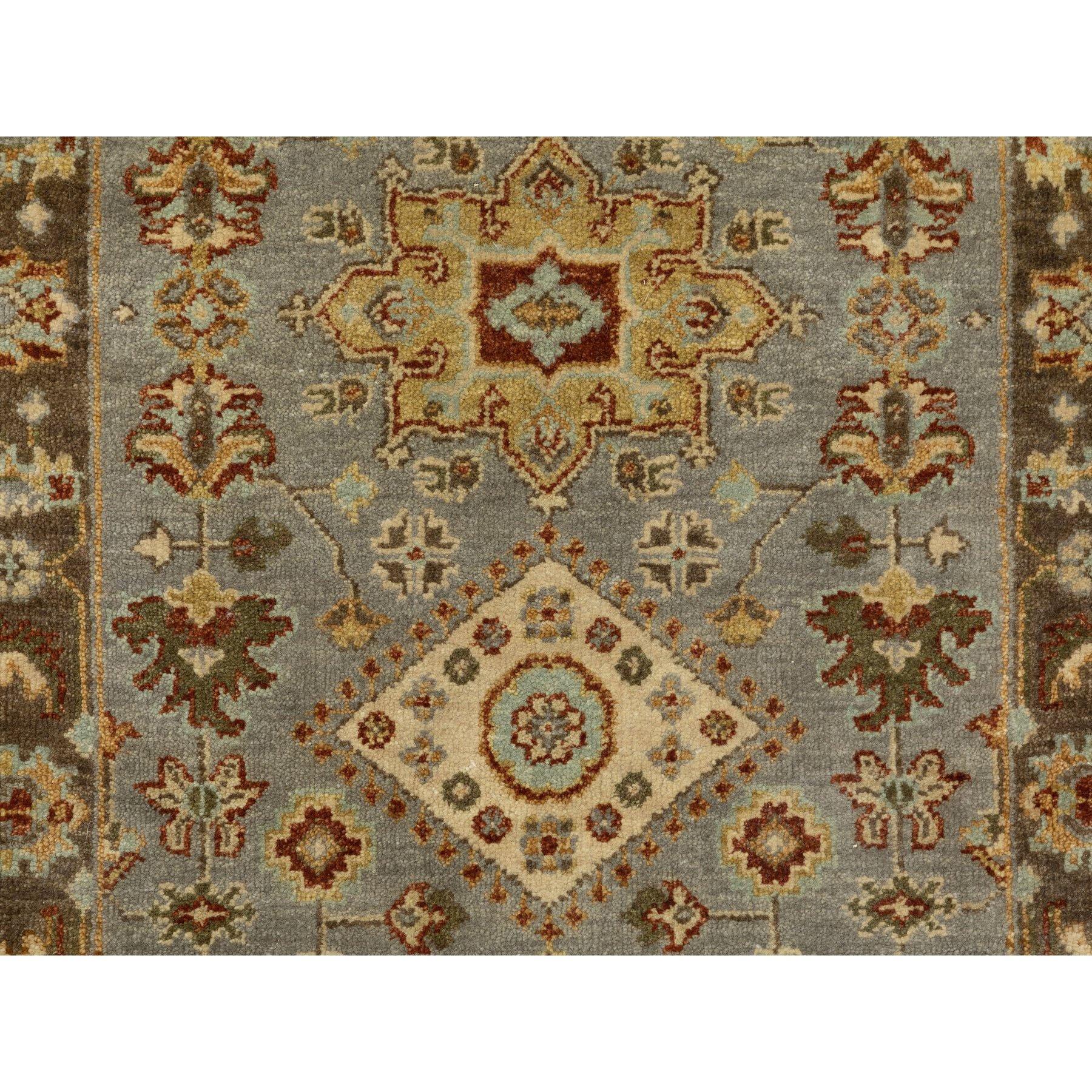 "2'6""x7'9"" Hand Knotted Gray Karajeh Design Pure Wool Oriental Runner Rug"
