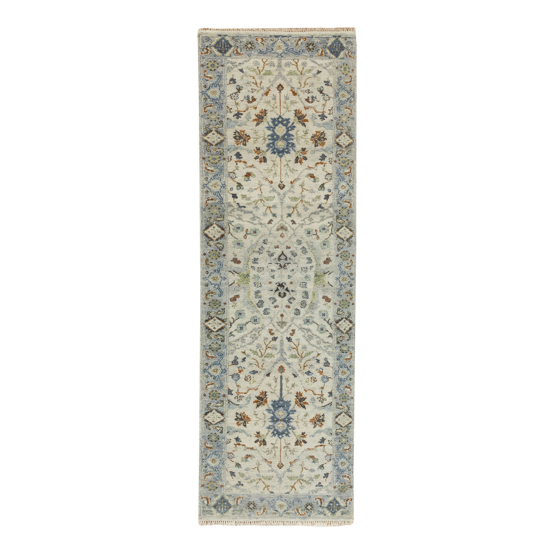 "2'5""x7'10"" Hand Knotted Light Gray Denser Weave Oushak Large Motifs Pure Wool Oriental Runner Rug"