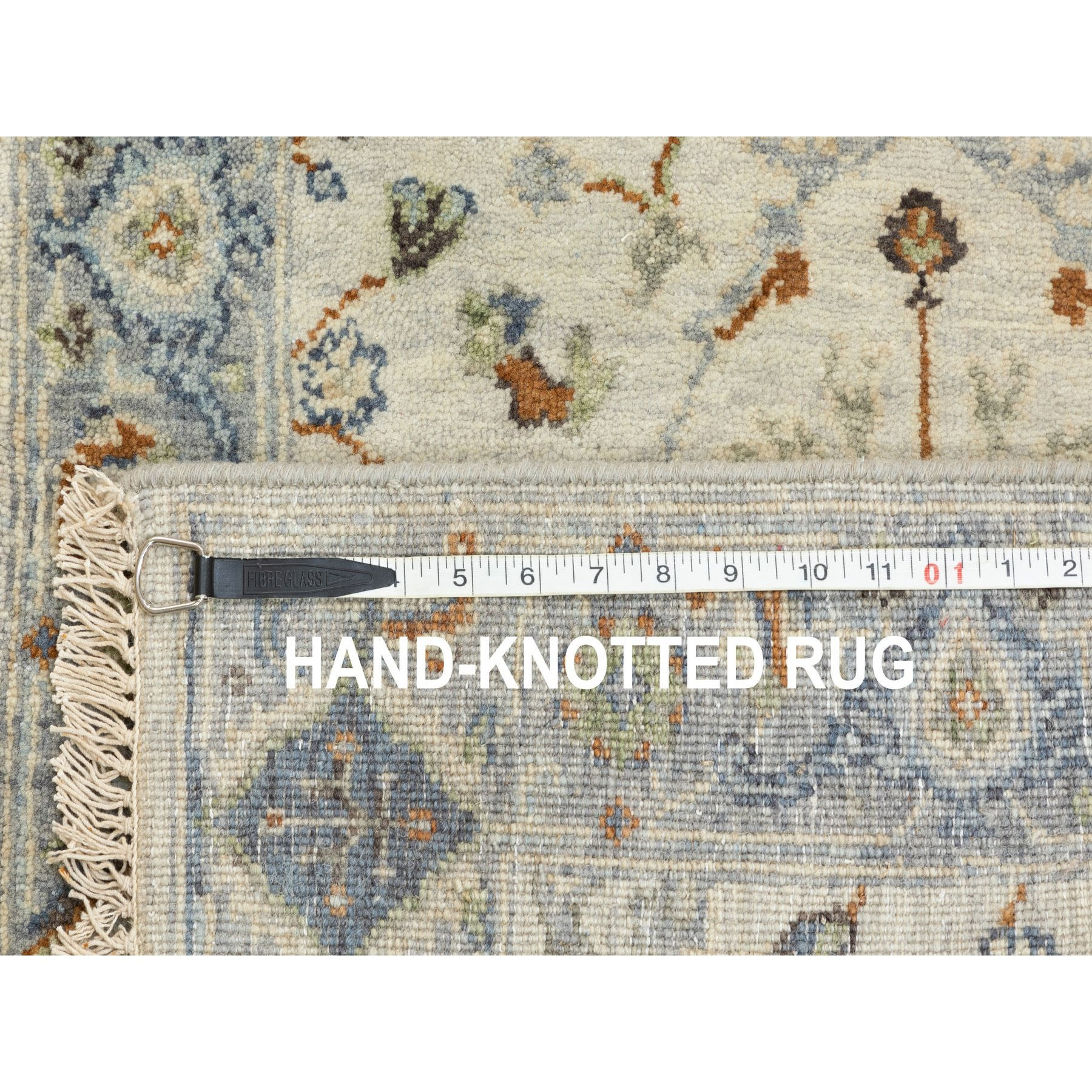 "2'5""x7'10"" Hand Knotted Light Gray Denser Weave Oushak Large Motifs Pure Wool Oriental Runner Rug"