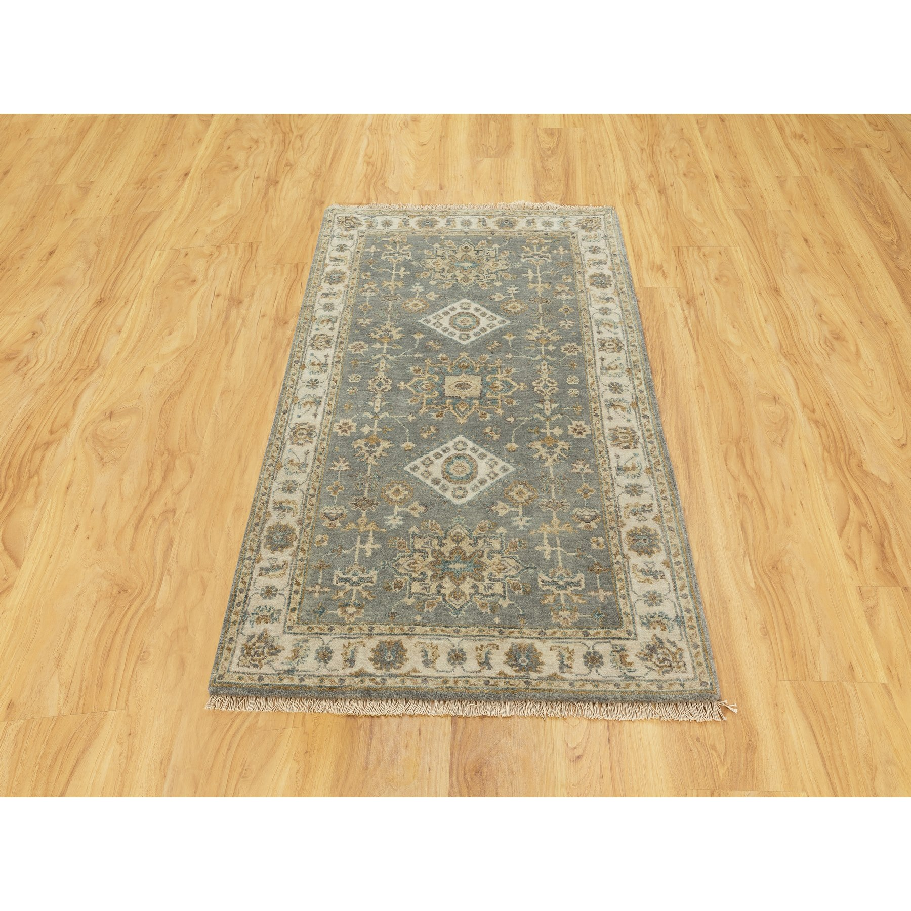 3'x5' Gray Karajeh Design Pure Wool Hand Knotted Oriental Rug