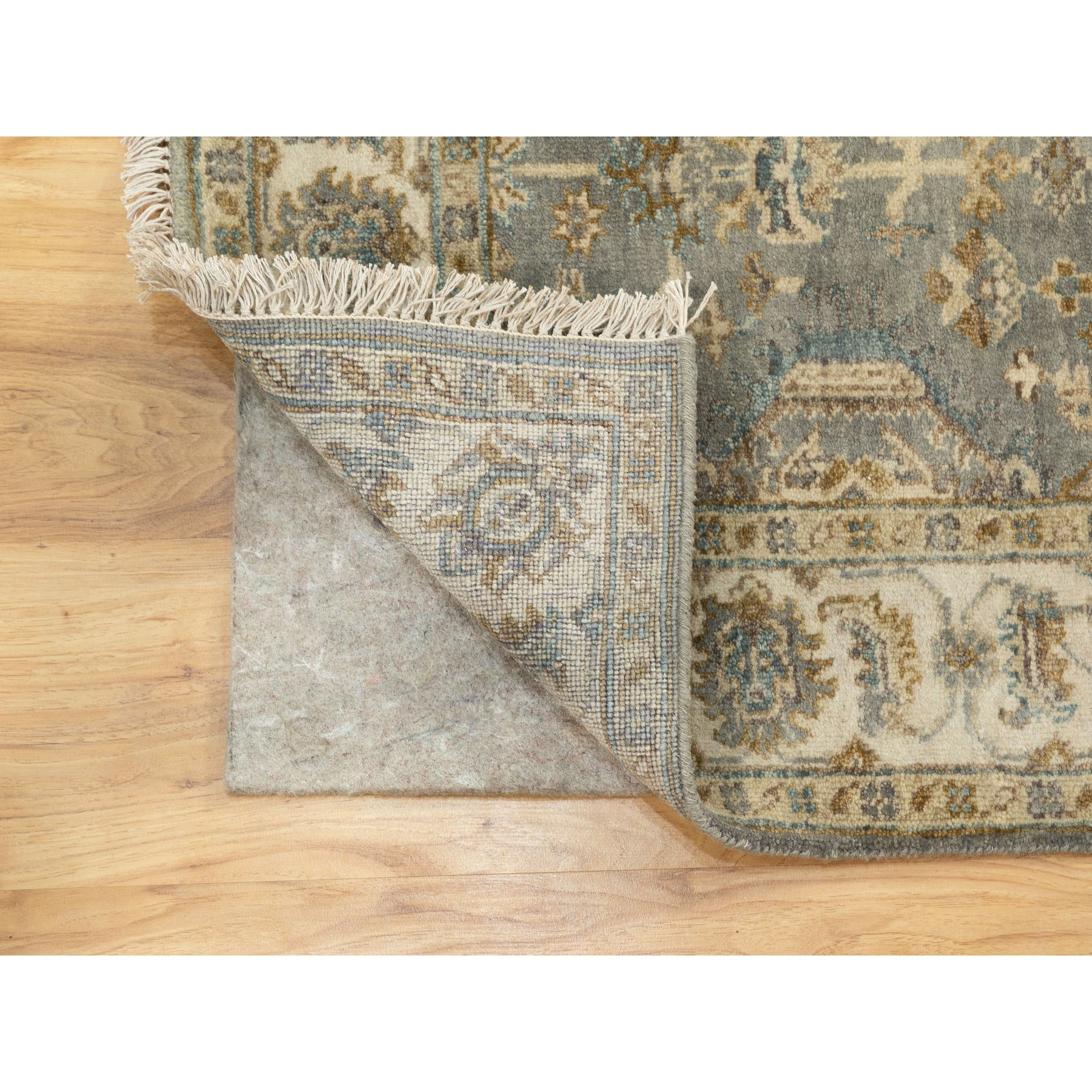 """4'x5'10"""" Hand Knotted Gray Karajeh Design Pure Wool Oriental Rug"""