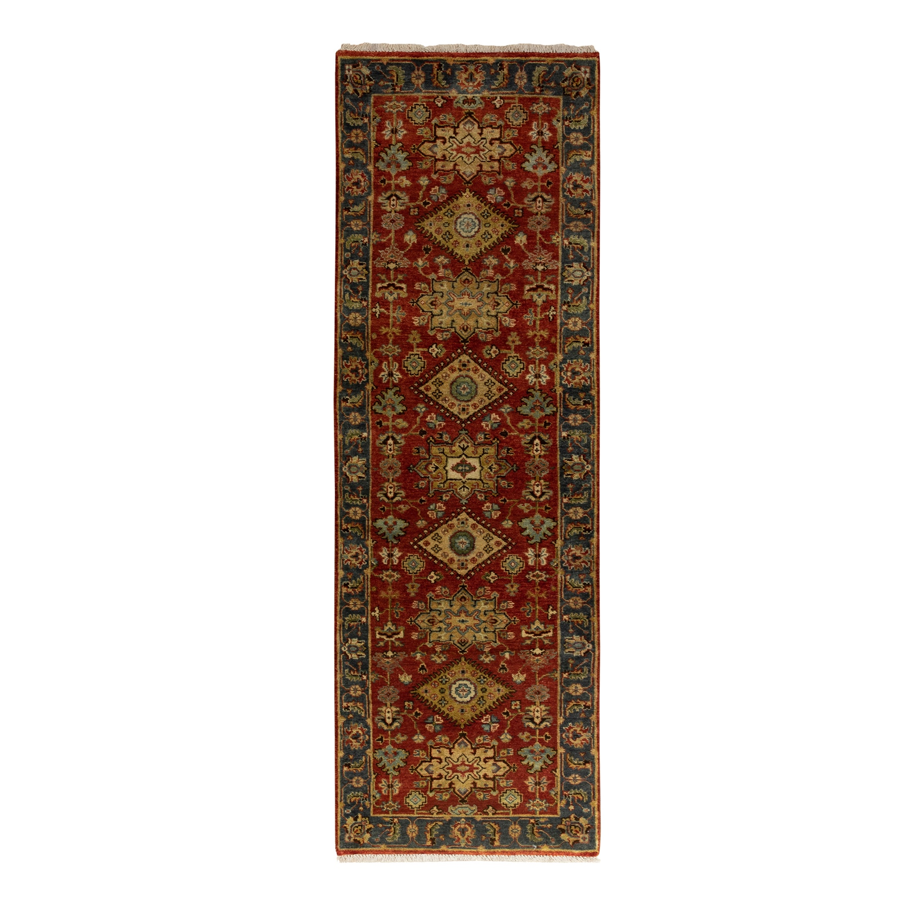"2'5""x7'10"" Red Karajeh Design Pure Wool Hand Knotted Oriental Runner Rug"