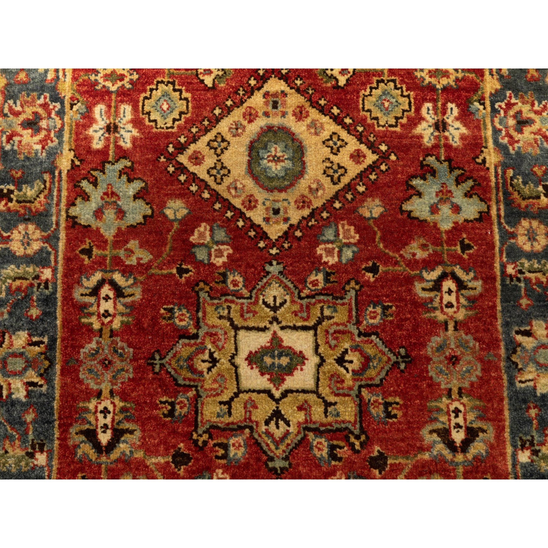 """2'5""""x7'10"""" Red Karajeh Design Pure Wool Hand Knotted Oriental Runner Rug"""