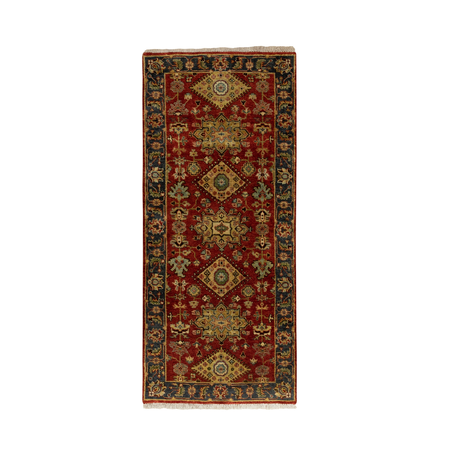 "2'7""x6' Hand Knotted Red Karajeh Design Pure Wool Oriental Runner Rug"