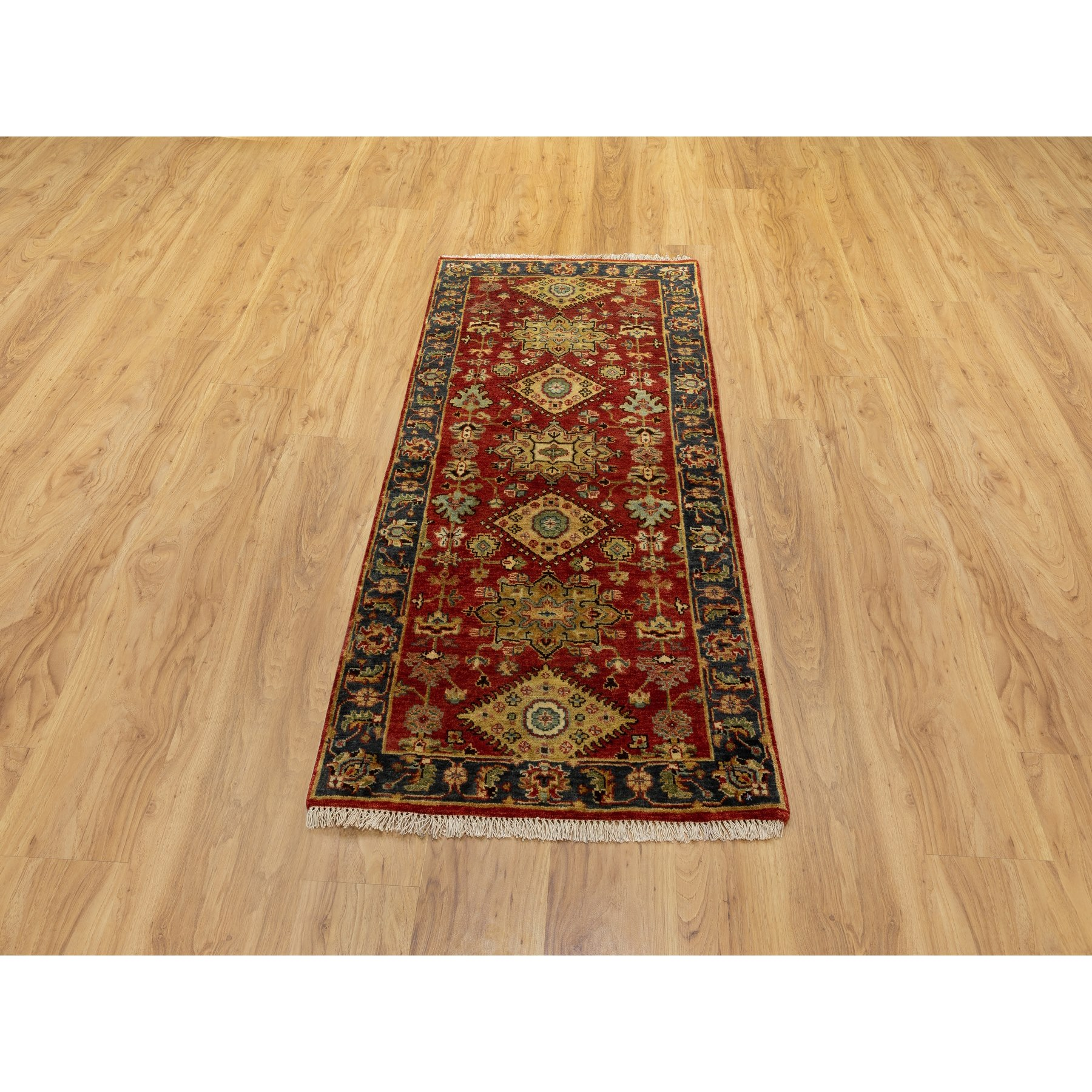 """2'7""""x6' Hand Knotted Red Karajeh Design Pure Wool Oriental Runner Rug"""