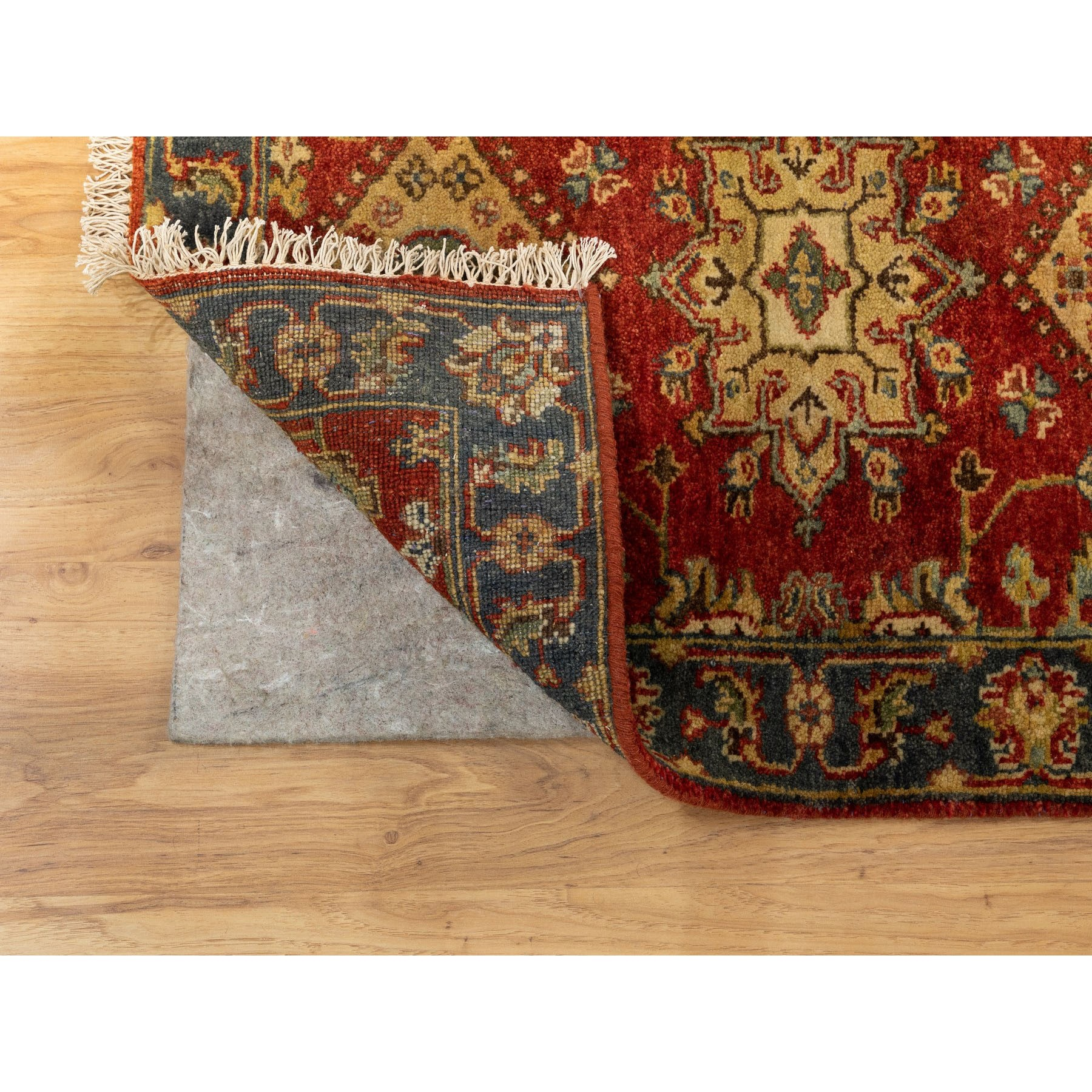 "2'1""x3' Red Hand Knotted Karajeh Design Pure Wool Oriental Rug"