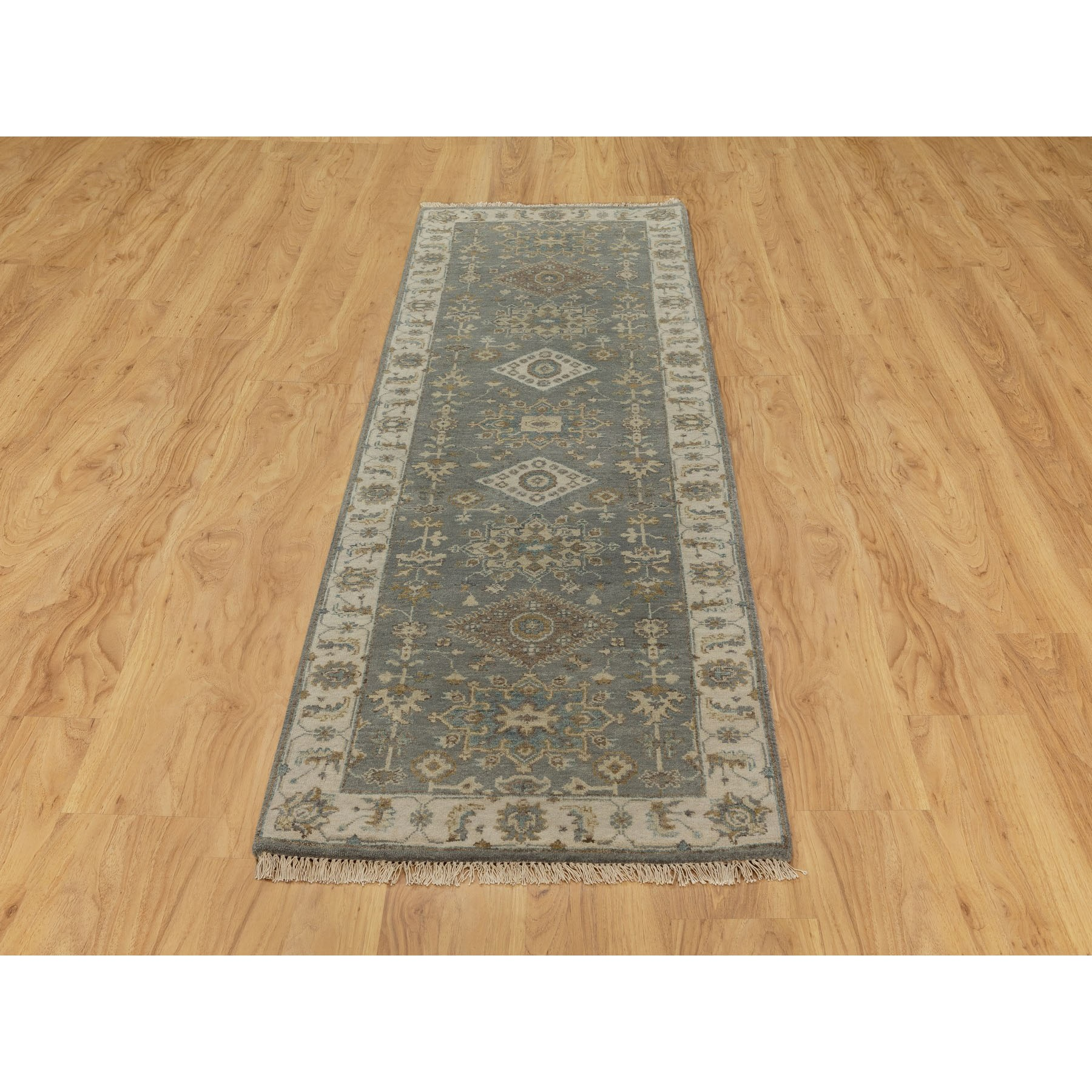 "2'7""x7'10"" Gray Karajeh Design Pure Wool Hand Knotted Oriental Runner Rug"