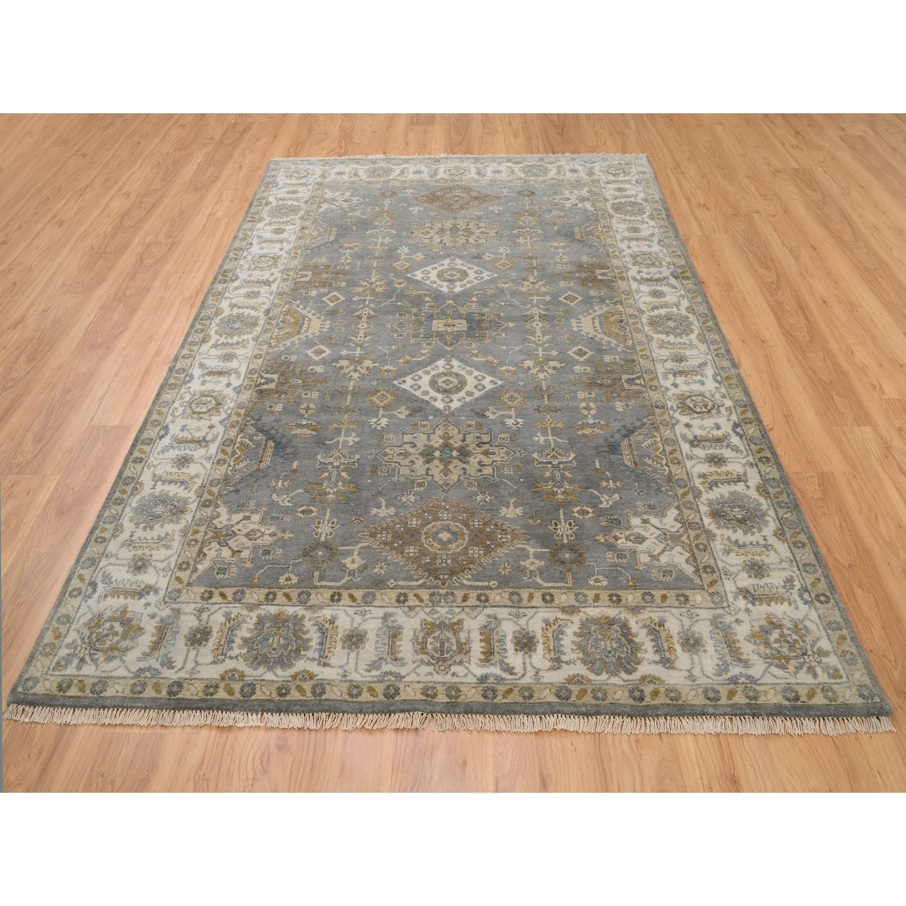 6'x9' Pure Wool Gray Karajeh Design Hand Knotted Oriental Rug