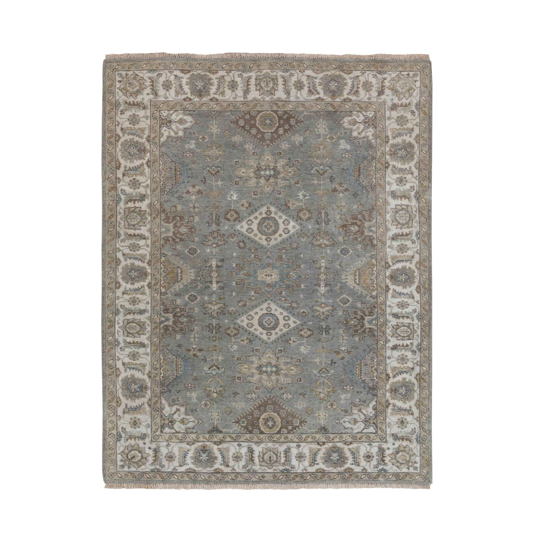 "5'2""x7' Hand Knotted Gray Karajeh Design Pure Wool Oriental Rug"