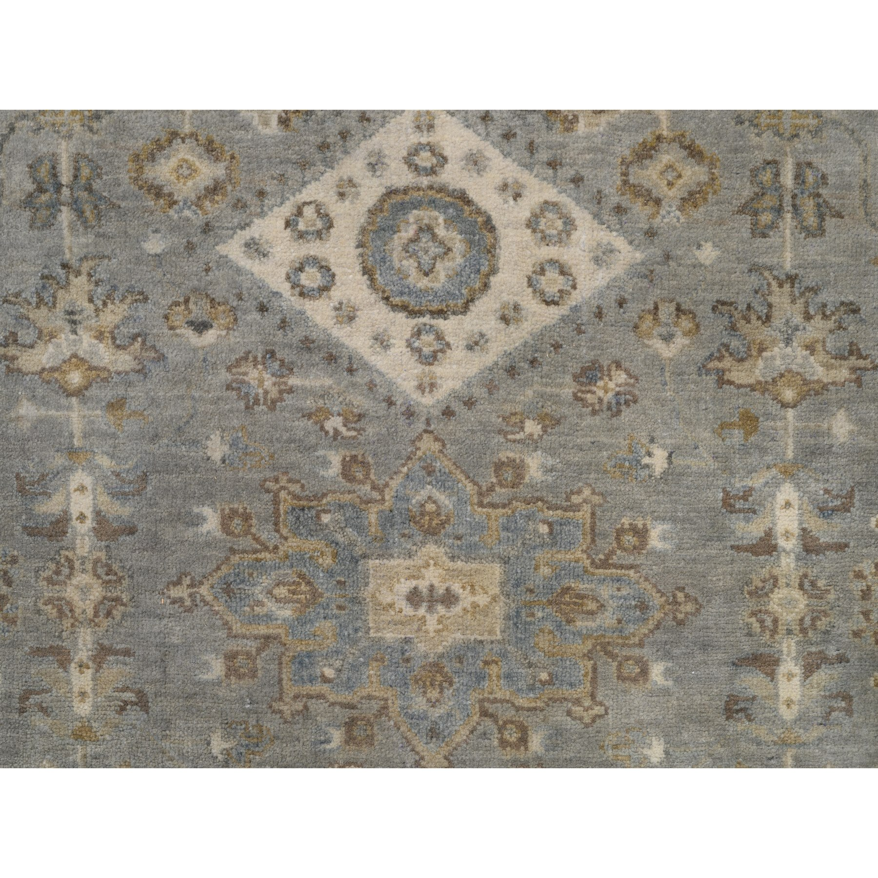 """5'2""""x7' Hand Knotted Gray Karajeh Design Pure Wool Oriental Rug"""