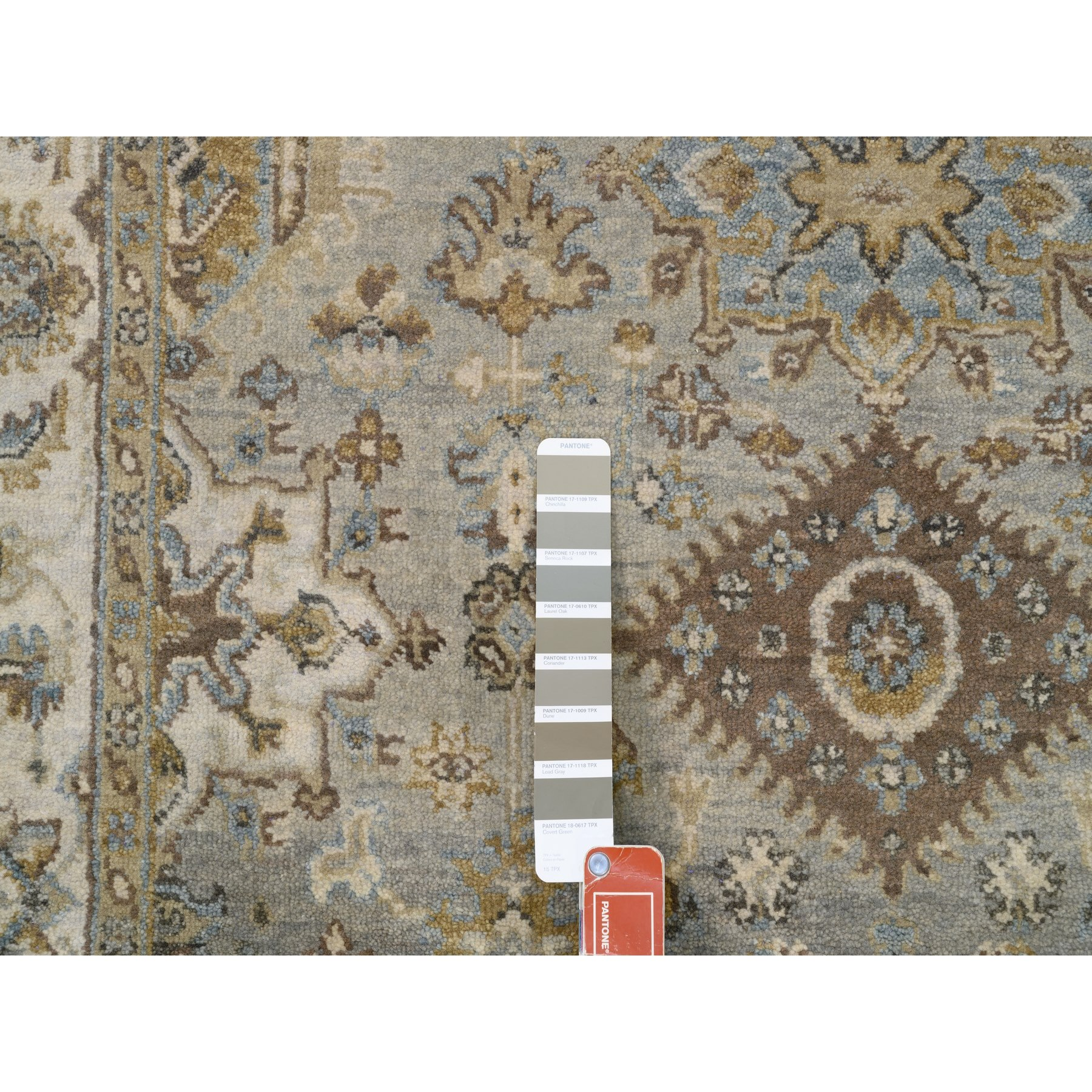 "4'2""x12'4"" Gray Karajeh Design Pure Wool Hand Knotted Oriental Wide Runner Rug"
