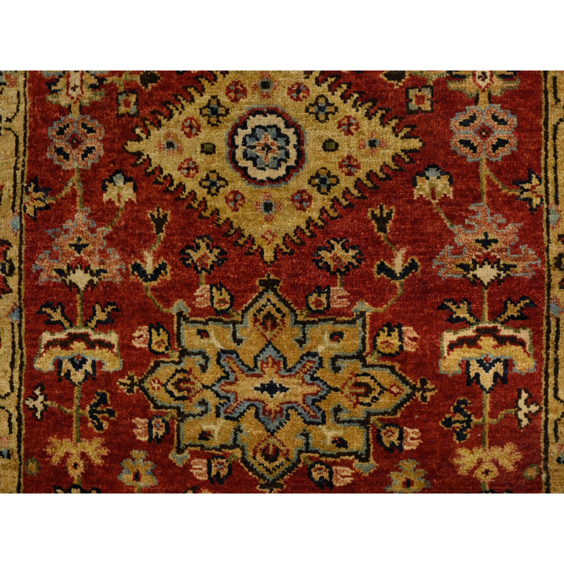 "2'8""x13'9"" Red Karajeh Design Pure Wool Hand Knotted Oriental Runner Rug"