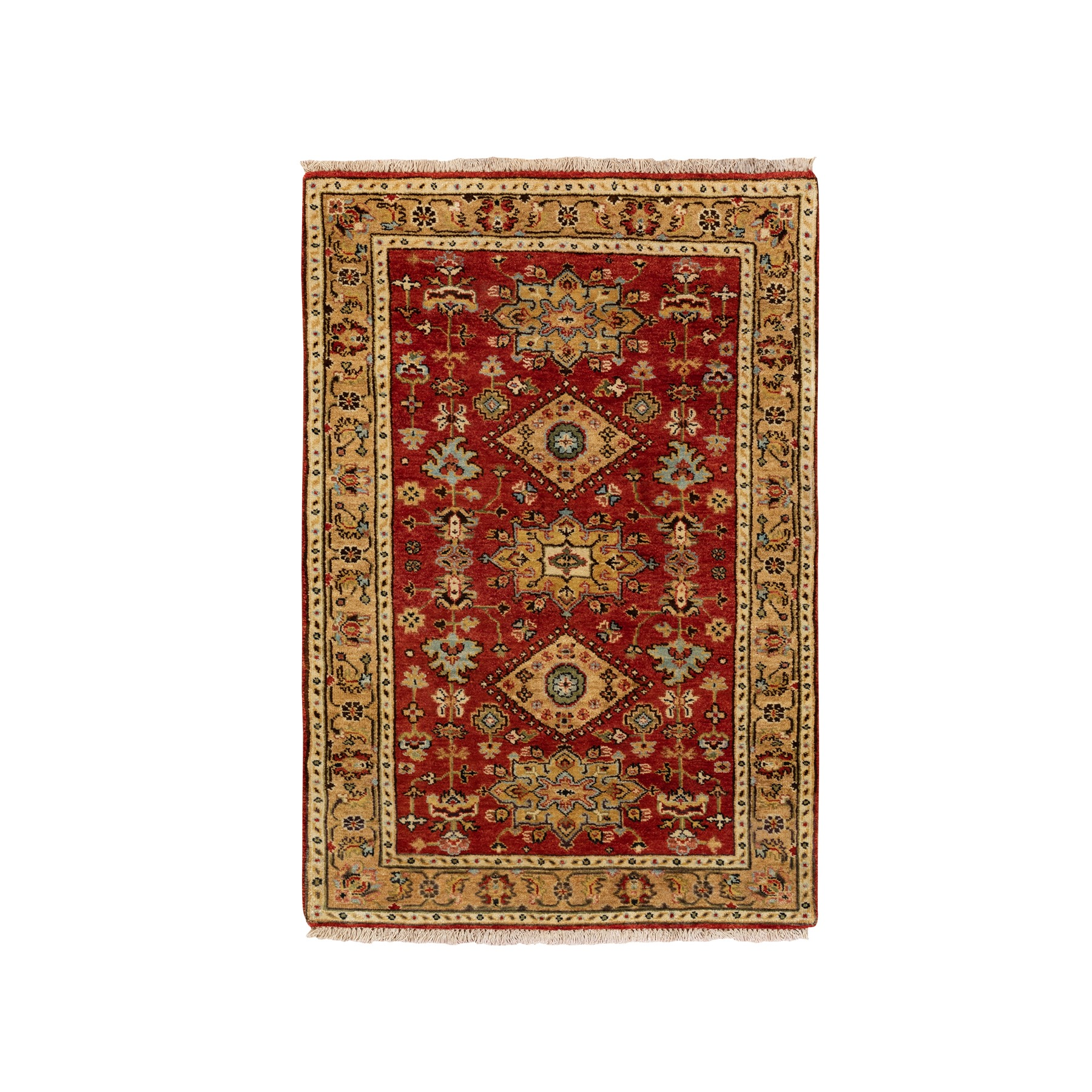 3'x5' Red Pure Wool Karajeh Design Hand Knotted Oriental Rug