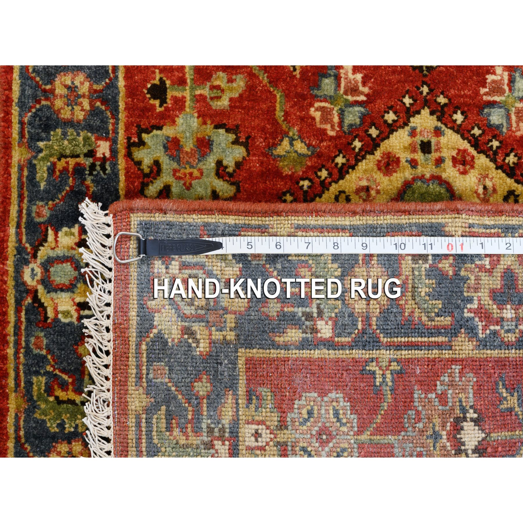 "2'7""x6' Red Karajeh Design Pure Wool Hand Knotted Oriental Runner Rug"