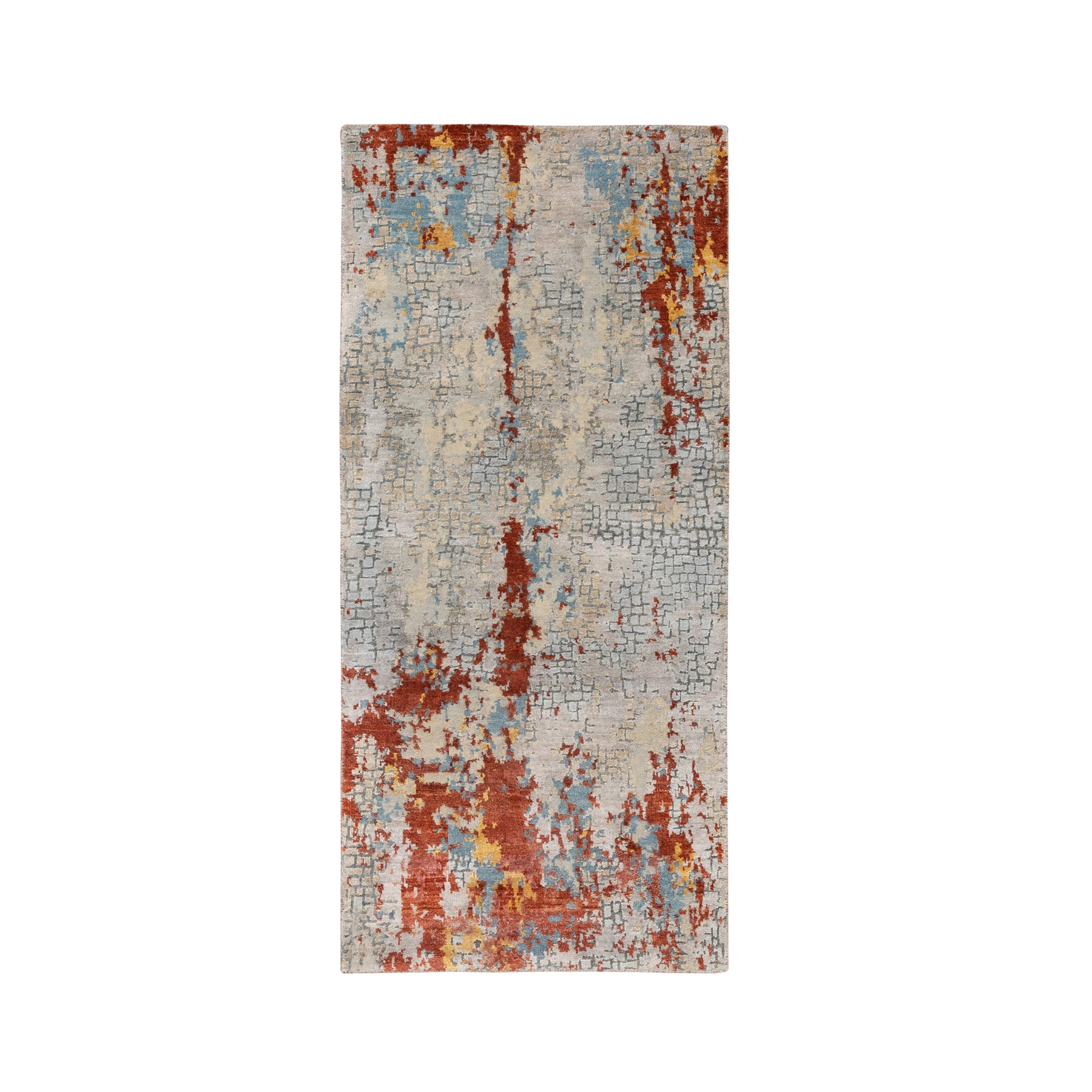 "2'6""x5'10"" Wool and Silk Abstract with Fire Mosaic Design Hand Knotted Oriental Runner Rug"