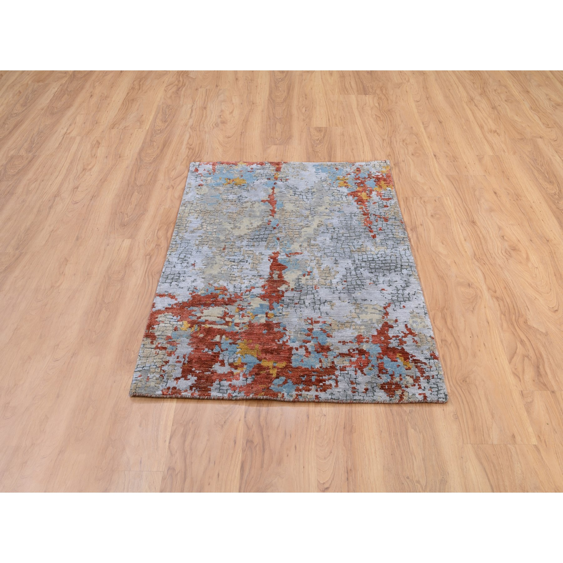 """3'x4'9"""" Wool And Silk Abstract With Fire Mosaic Design Hand Knotted Oriental Rug"""