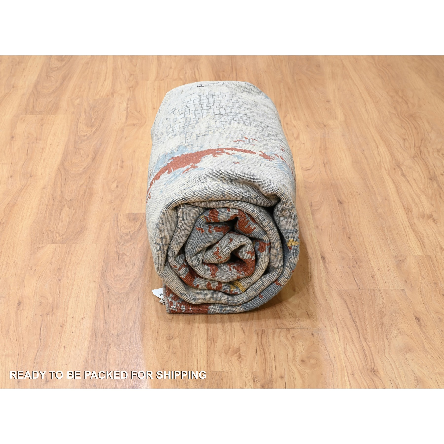 """8'x9'10"""" Wool And Silk Abstract With Fire Mosaic Design Hand Knotted Oriental Rug"""
