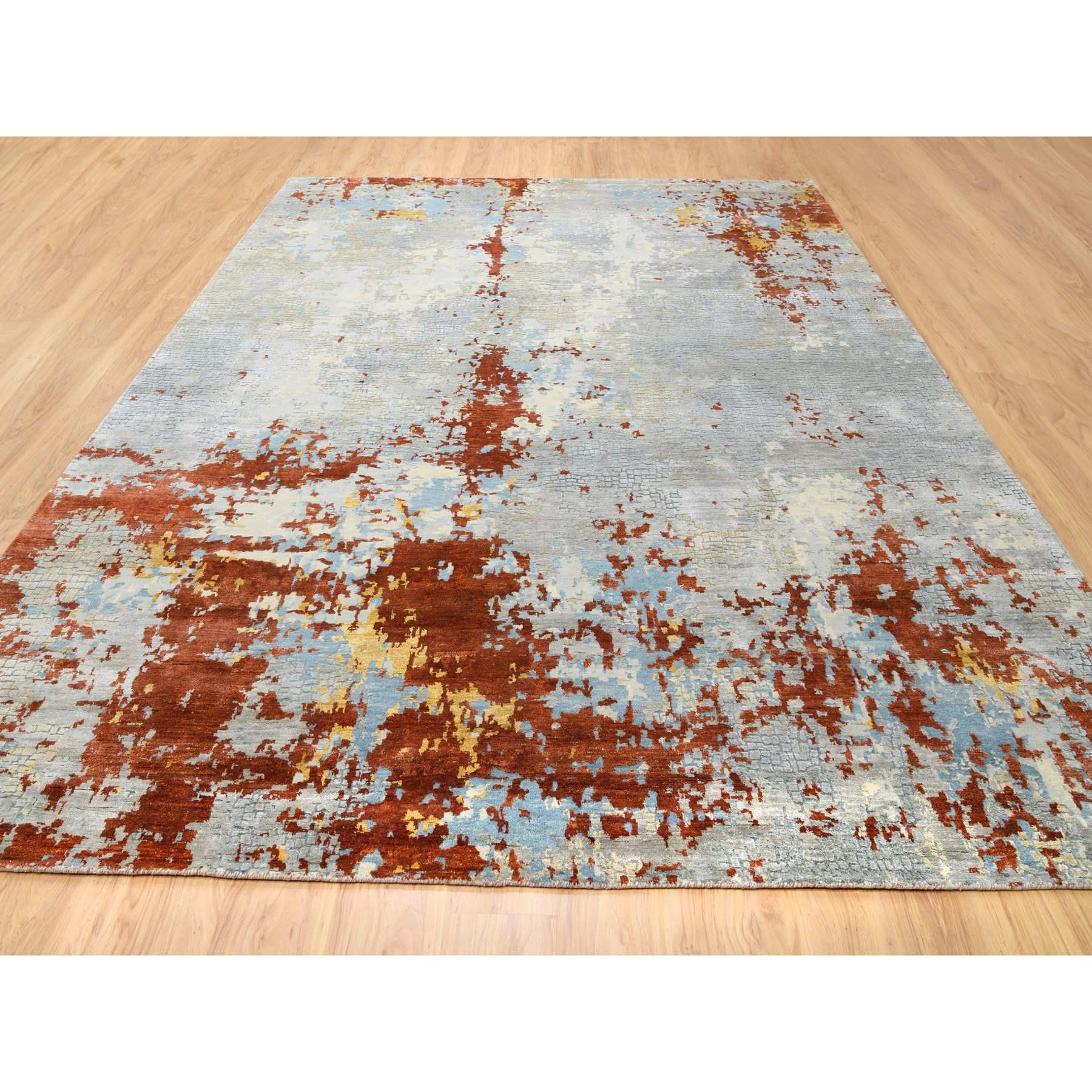 """9'x11'10"""" Wool And Silk Abstract With Fire Mosaic Design Hand Knotted Oriental Rug"""