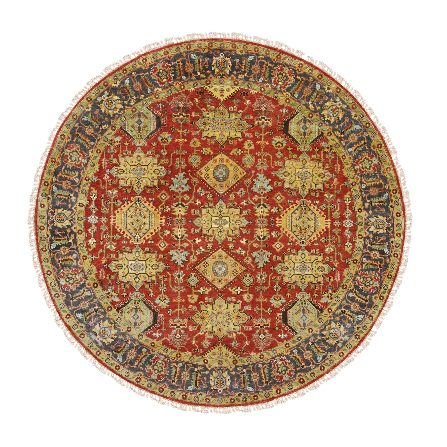 "7'10""x7'10"" Round Red Karajeh Design Pure Wool Hand Knotted Oriental Rug"