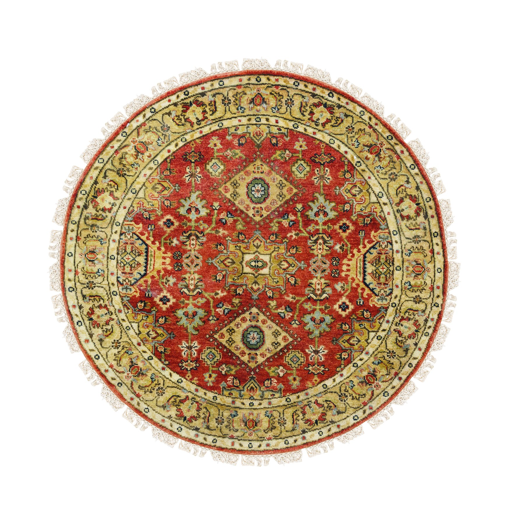 "4'2""x4'2"" Round Hand Knotted Red Karajeh Design Pure Wool Oriental Rug"