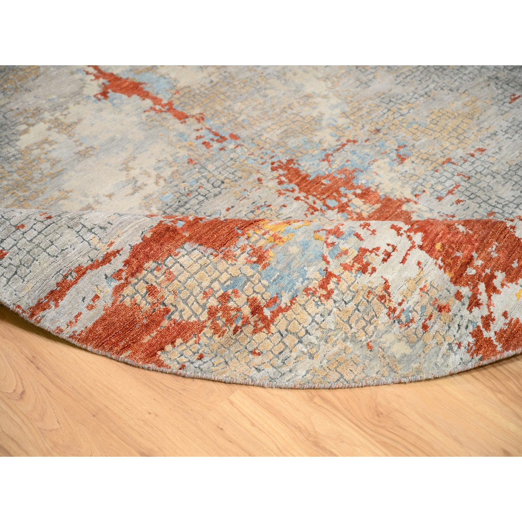 "7'9""x7'9"" Wool And Silk Abstract With Fire Mosaic Design Hand Knotted Oriental Round Rug"