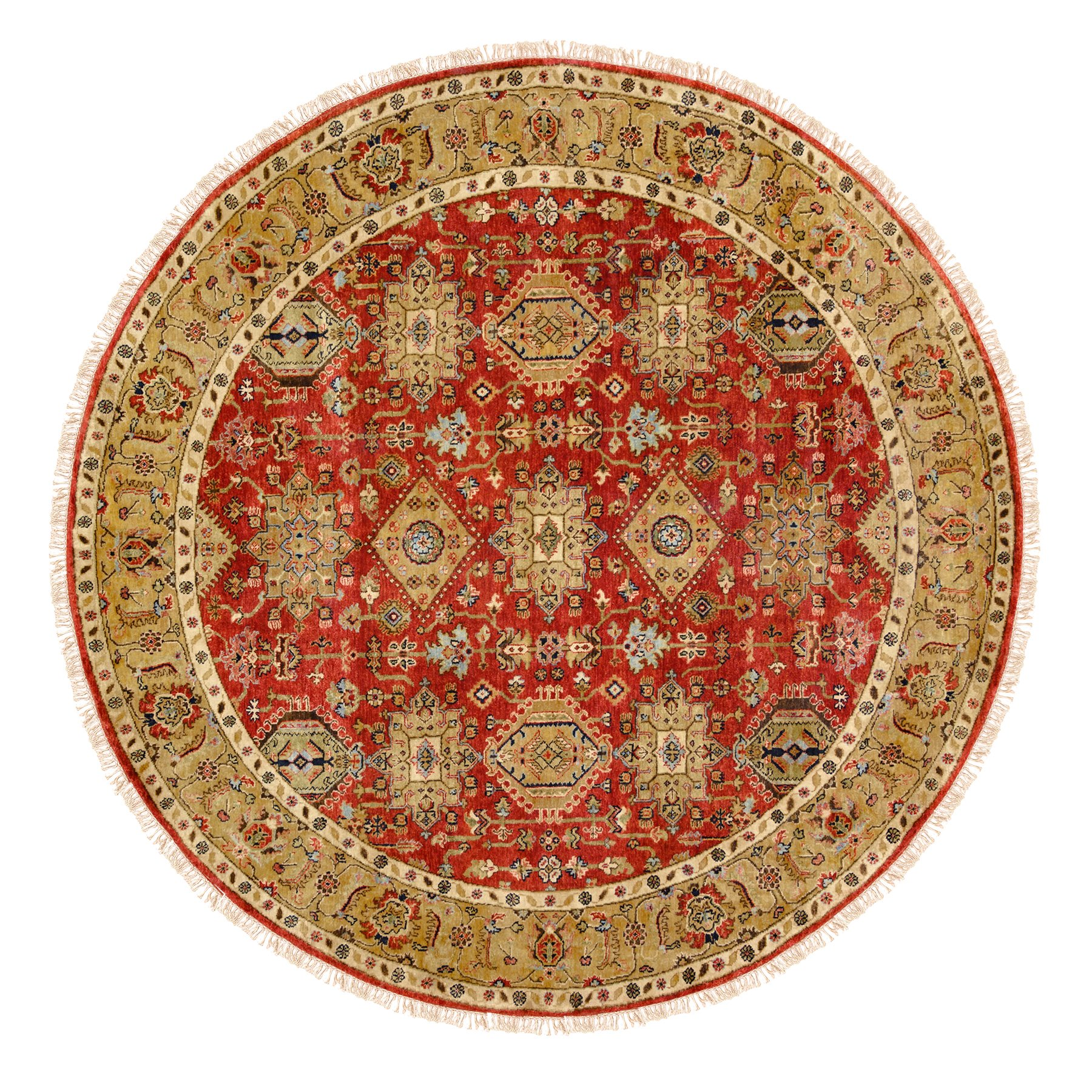 "7'9""x7'9"" Red Karajeh Design Hand Knotted Pure Wool Oriental Round Rug"
