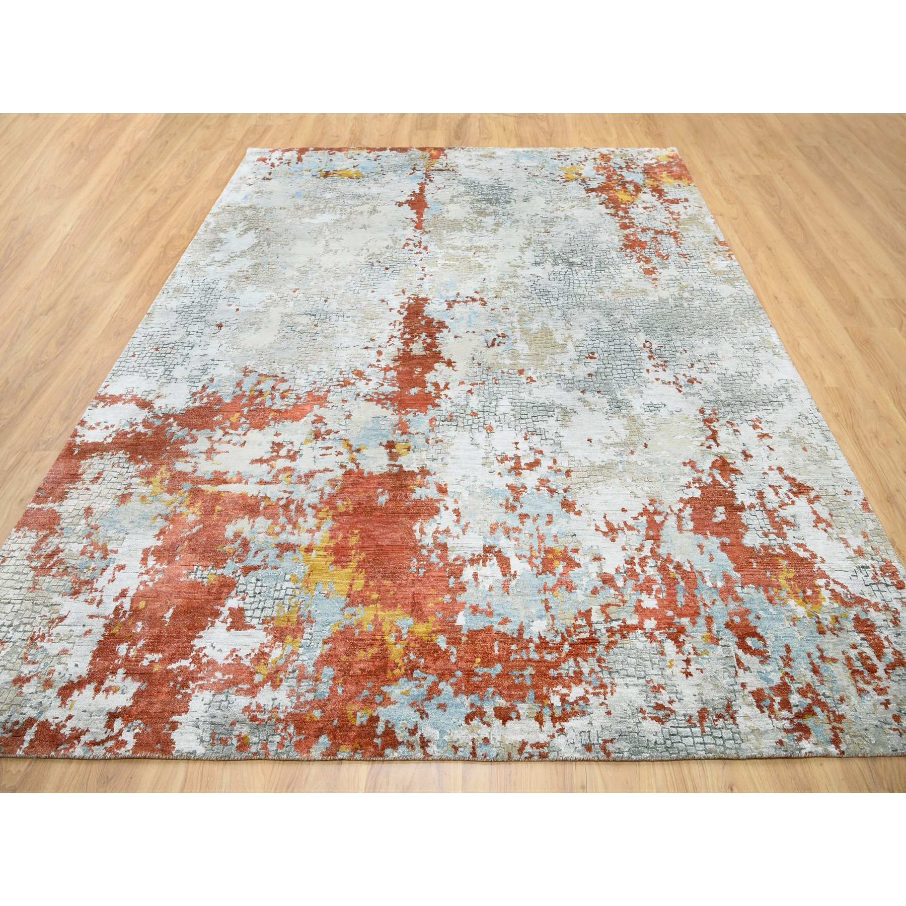 """7'9""""x10' Hand Knotted Wool And Silk Abstract With Fire Mosaic Design Oriental Rug"""