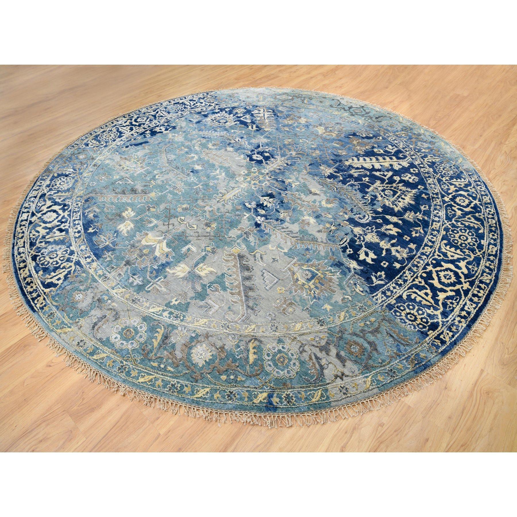 """9'10""""x9'10"""" Navy Blue Erased Design Wool and Silk Broken Persian Tabriz Hand Knotted Oriental Round Rug"""